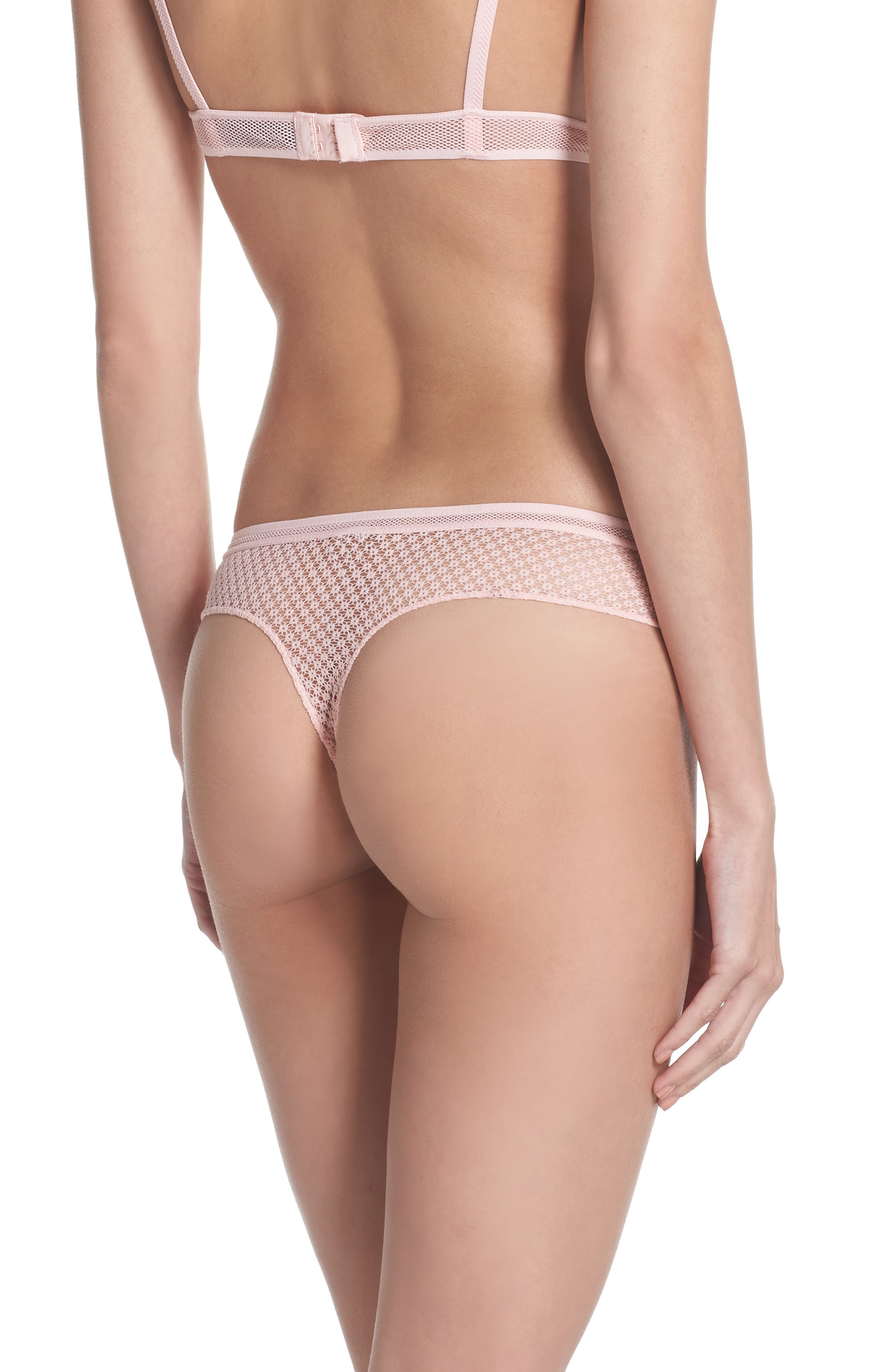Lace Thong,                             Alternate thumbnail 2, color,                             Dusty Pink