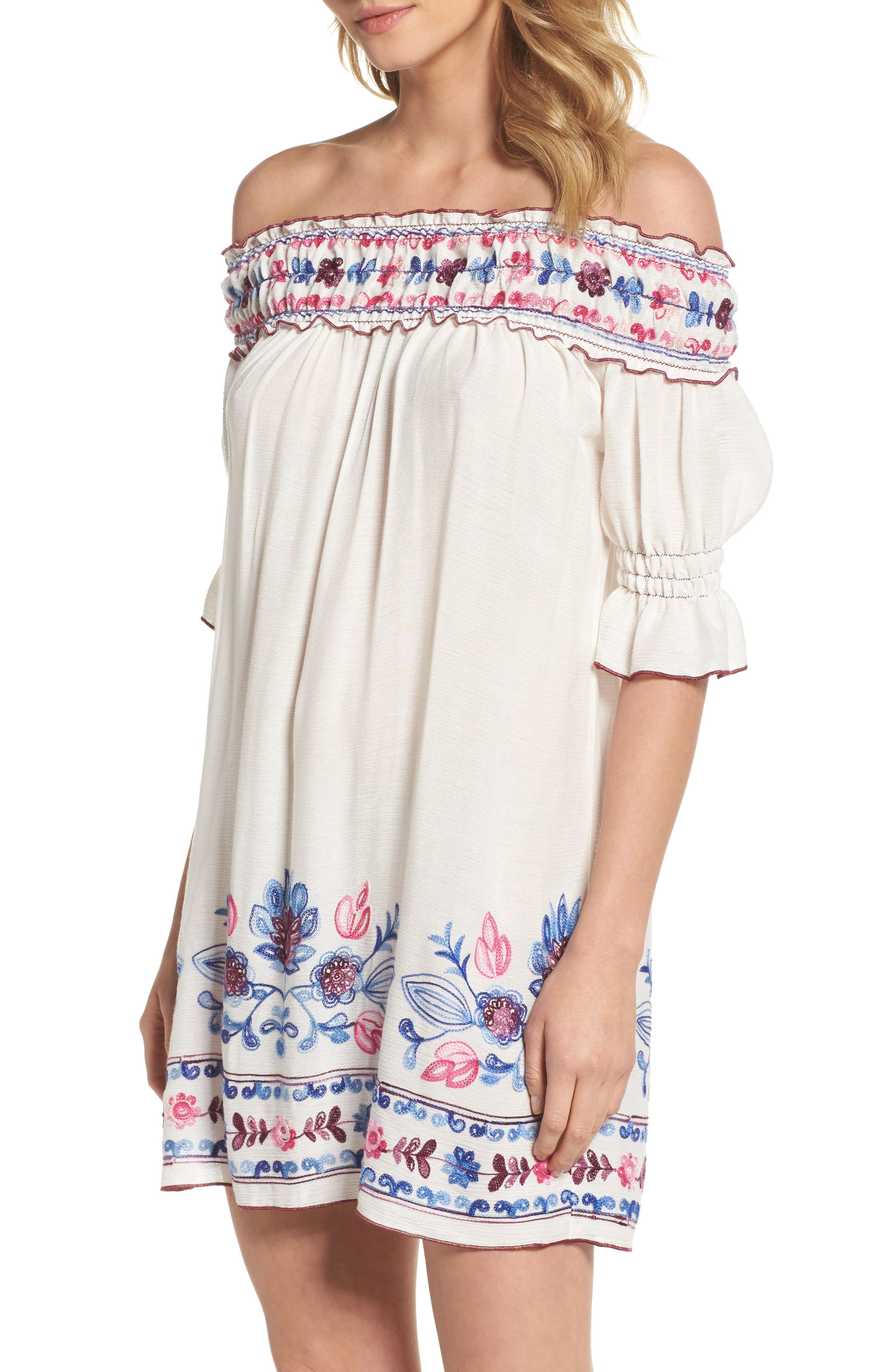 Main Image - Becca Marrakesh Market Off the Shoulder Cover-Up Dress