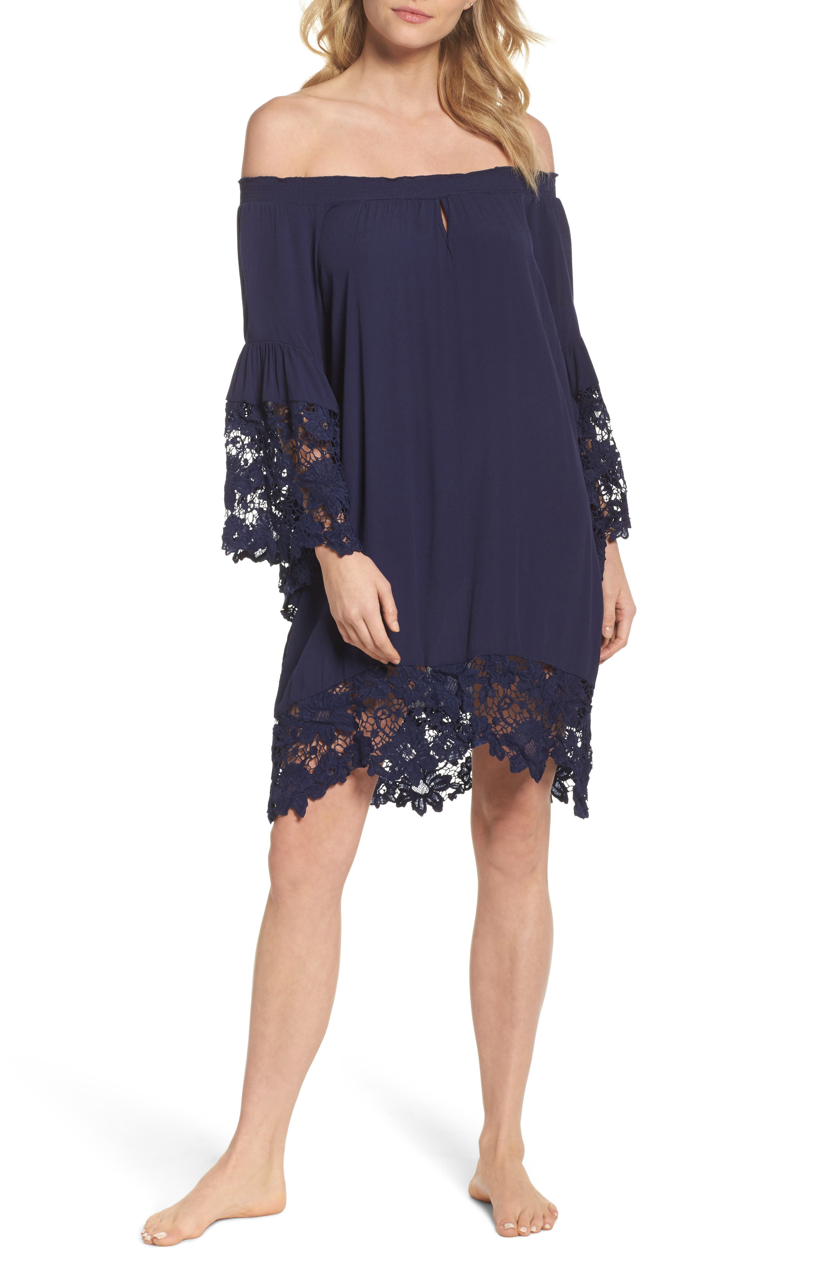 Jolie Lace Accent Cover-Up Dress,                         Main,                         color, Navy