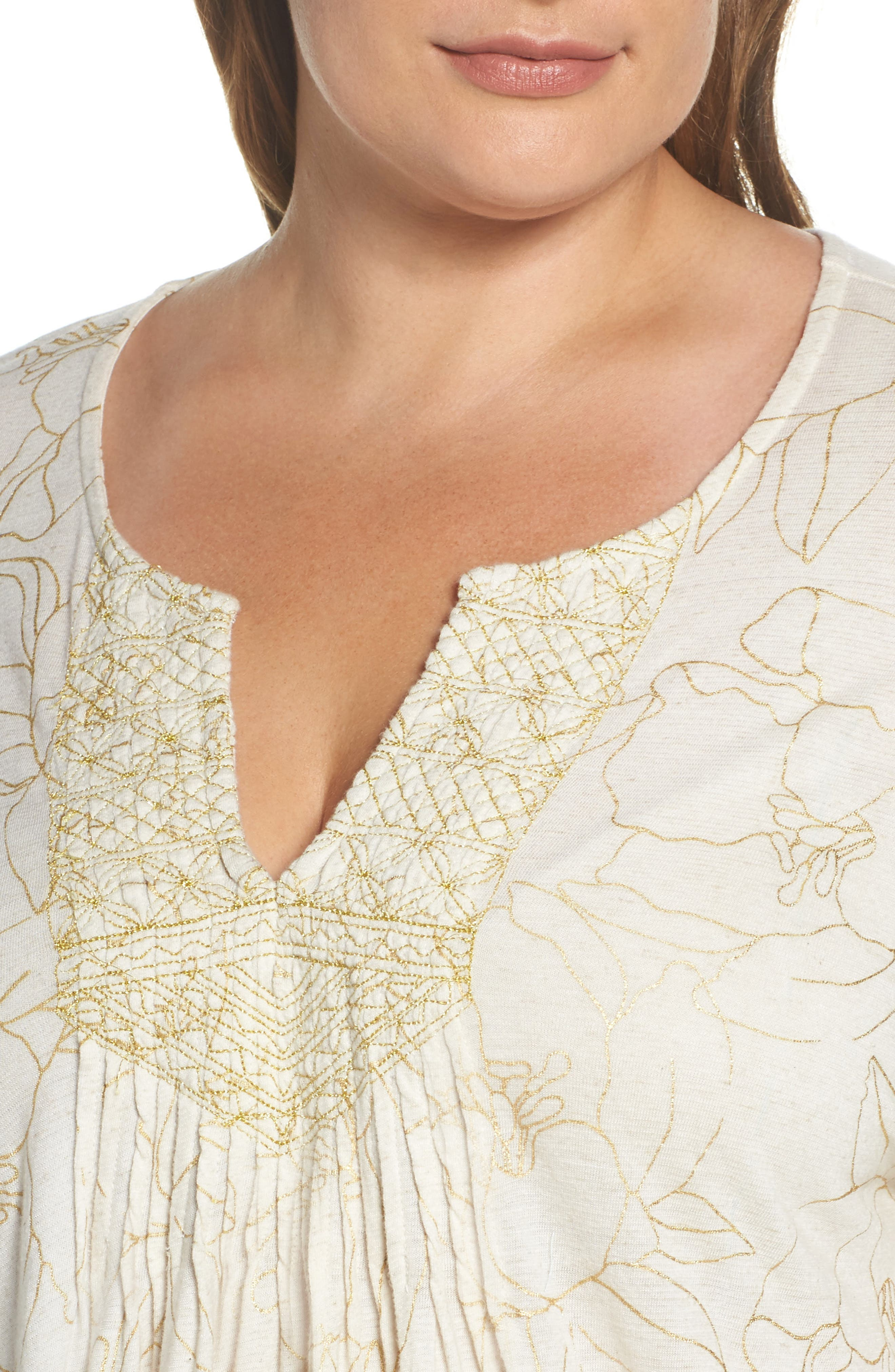 Alternate Image 4  - Lucky Brand Embroidered Foil Print Top (Plus Size)