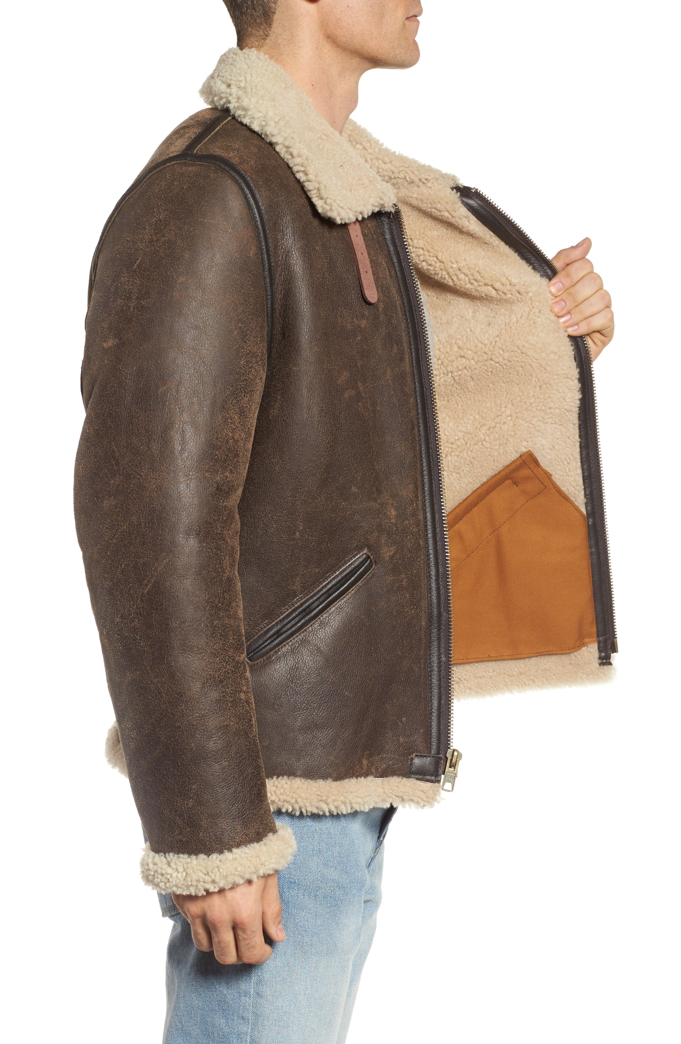 Genuine Shearling Vintage B-6 Bomber Jacket,                             Alternate thumbnail 3, color,                             Brown