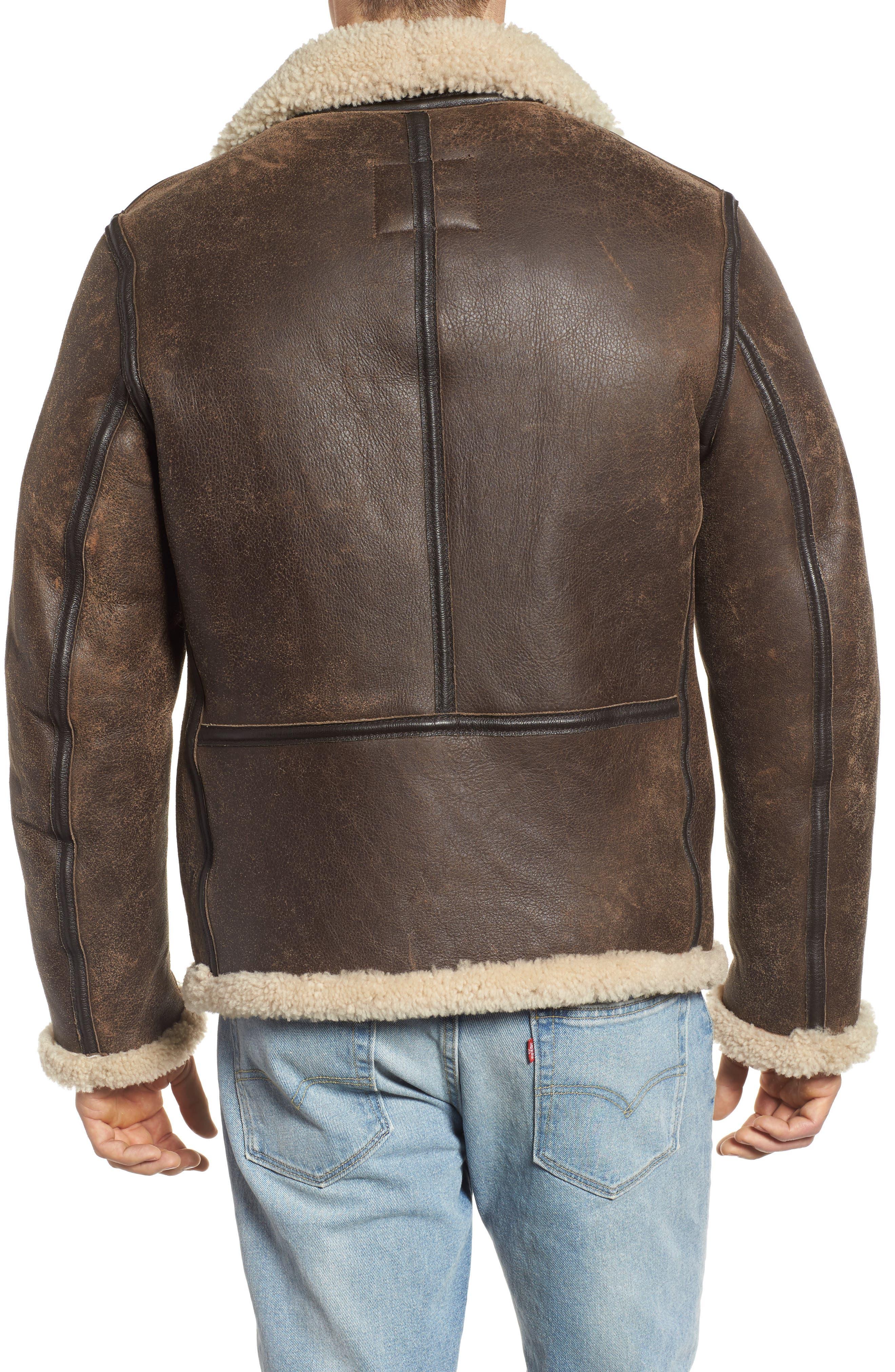 Genuine Shearling Vintage B-6 Bomber Jacket,                             Alternate thumbnail 2, color,                             Brown