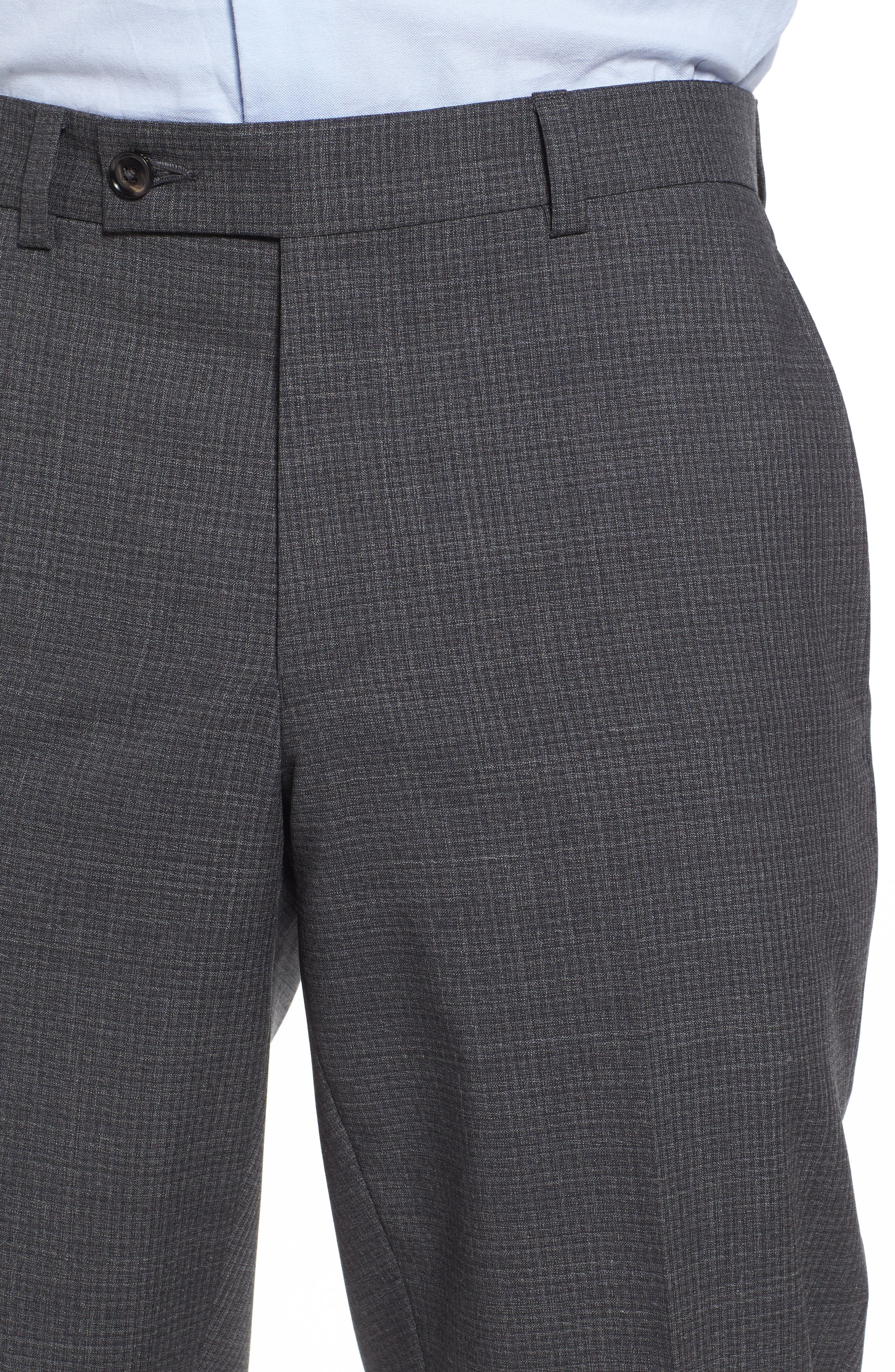 Flat Front Check Wool Trousers,                             Alternate thumbnail 4, color,                             Grey