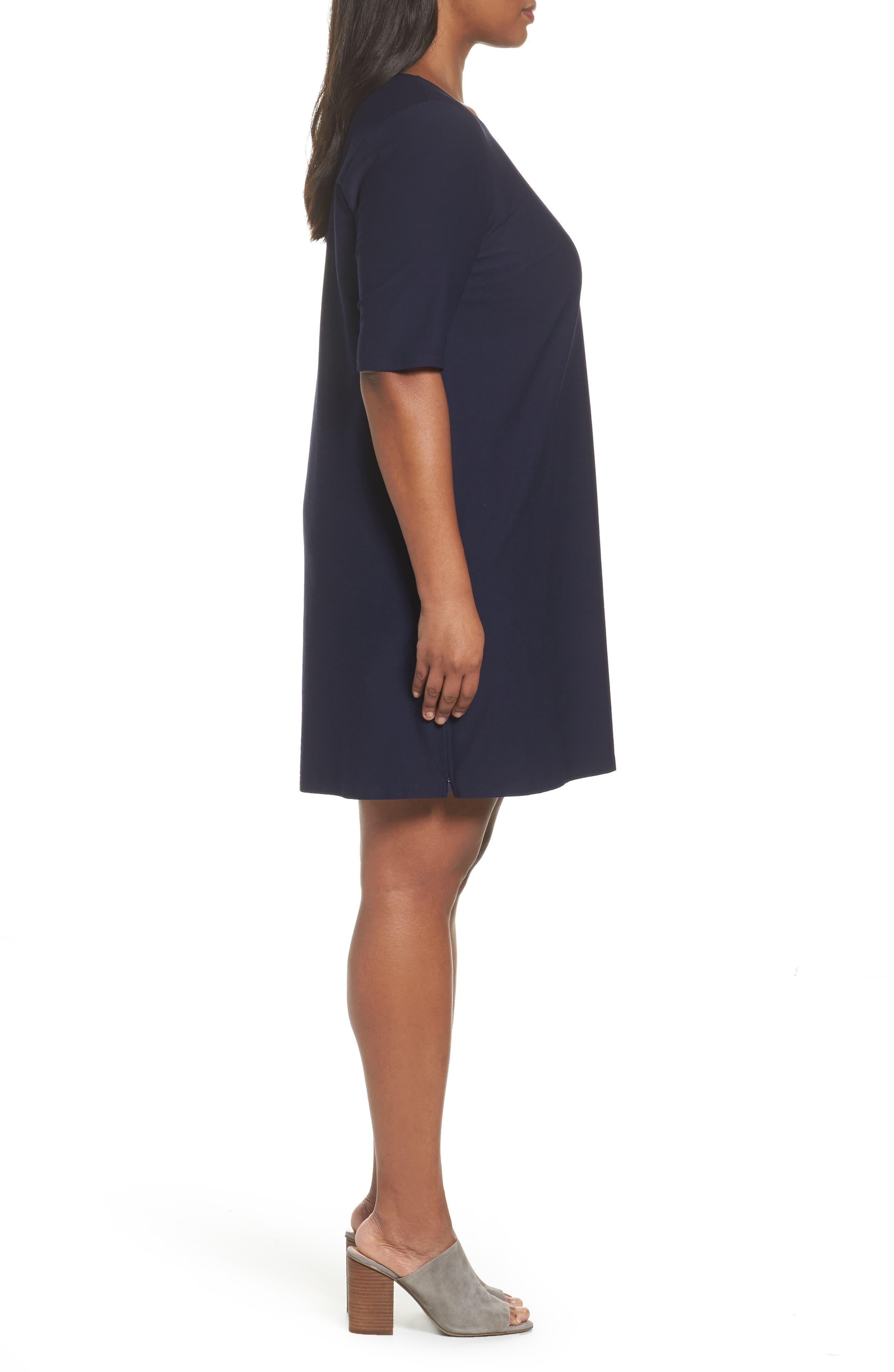 Alternate Image 3  - Eileen Fisher Side Zip Knit Shift Dress (Plus Size)