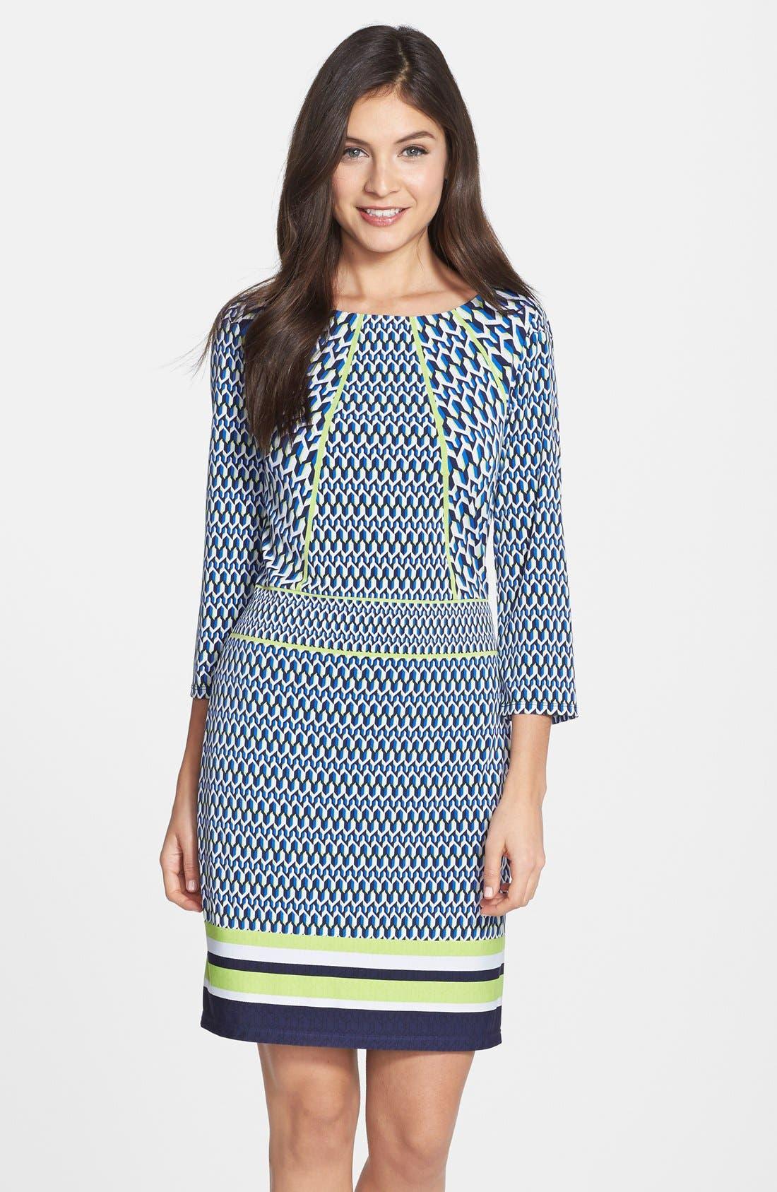 Alternate Image 1 Selected - Laundry by Shelli Segal Print Jersey Sheath Dress (Regular & Petite)