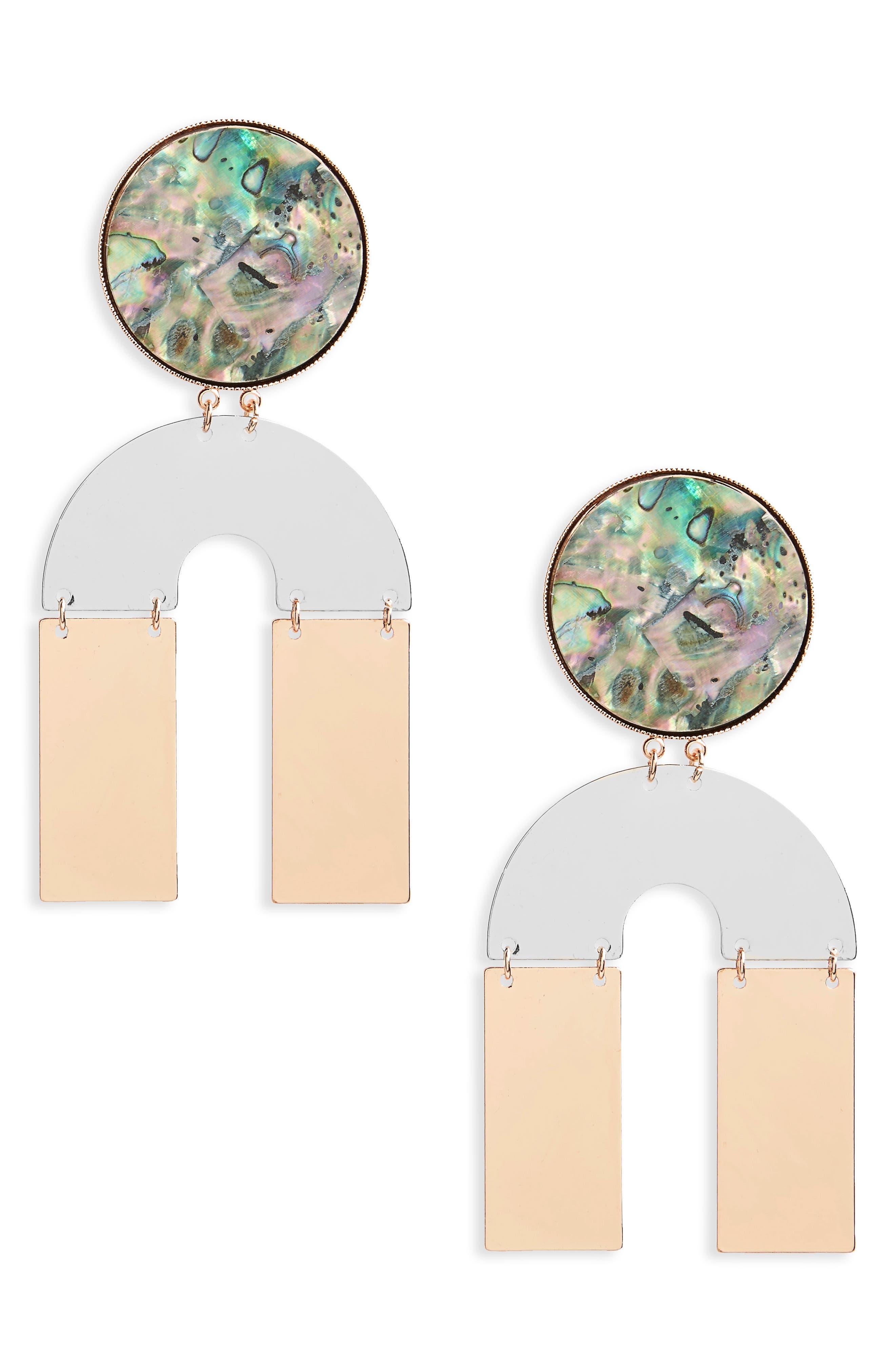 Topshop Abalone U-Shape Drop Earrings