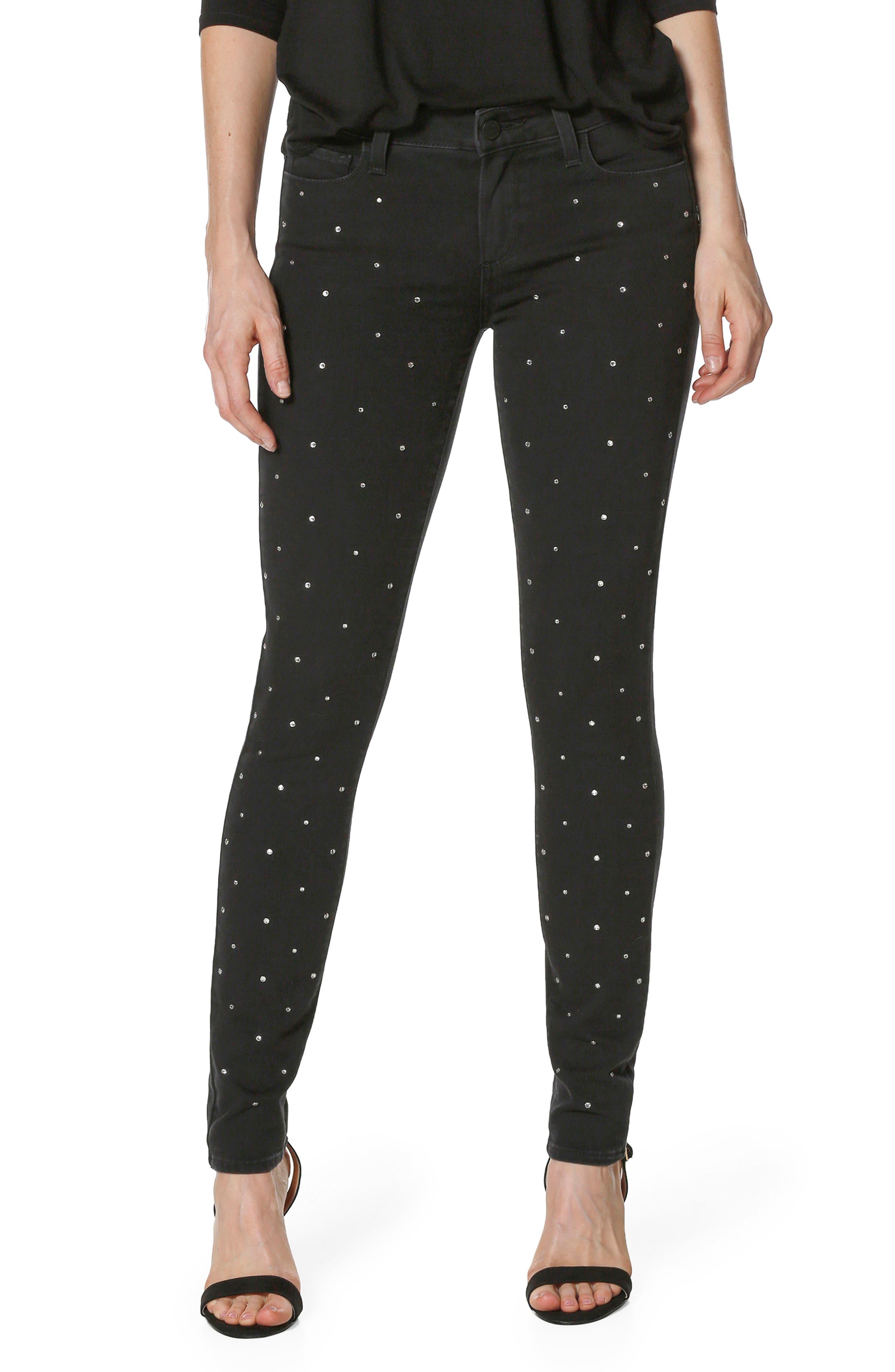 Main Image - PAIGE Verdugo Crystal Ultra Skinny Jeans (Noir Krystal)
