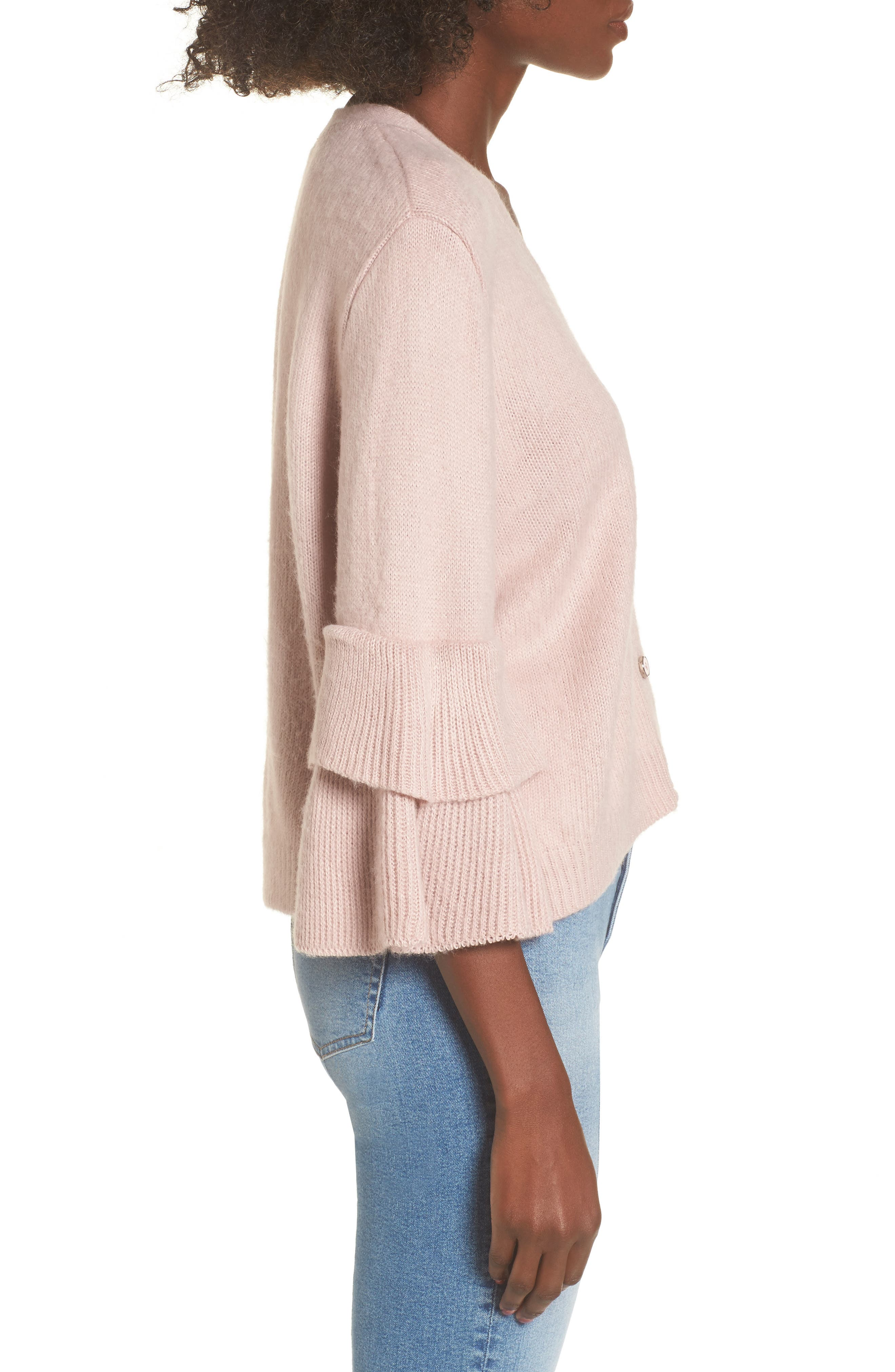 Tiered Sleeve Cardigan,                             Alternate thumbnail 4, color,                             Pink