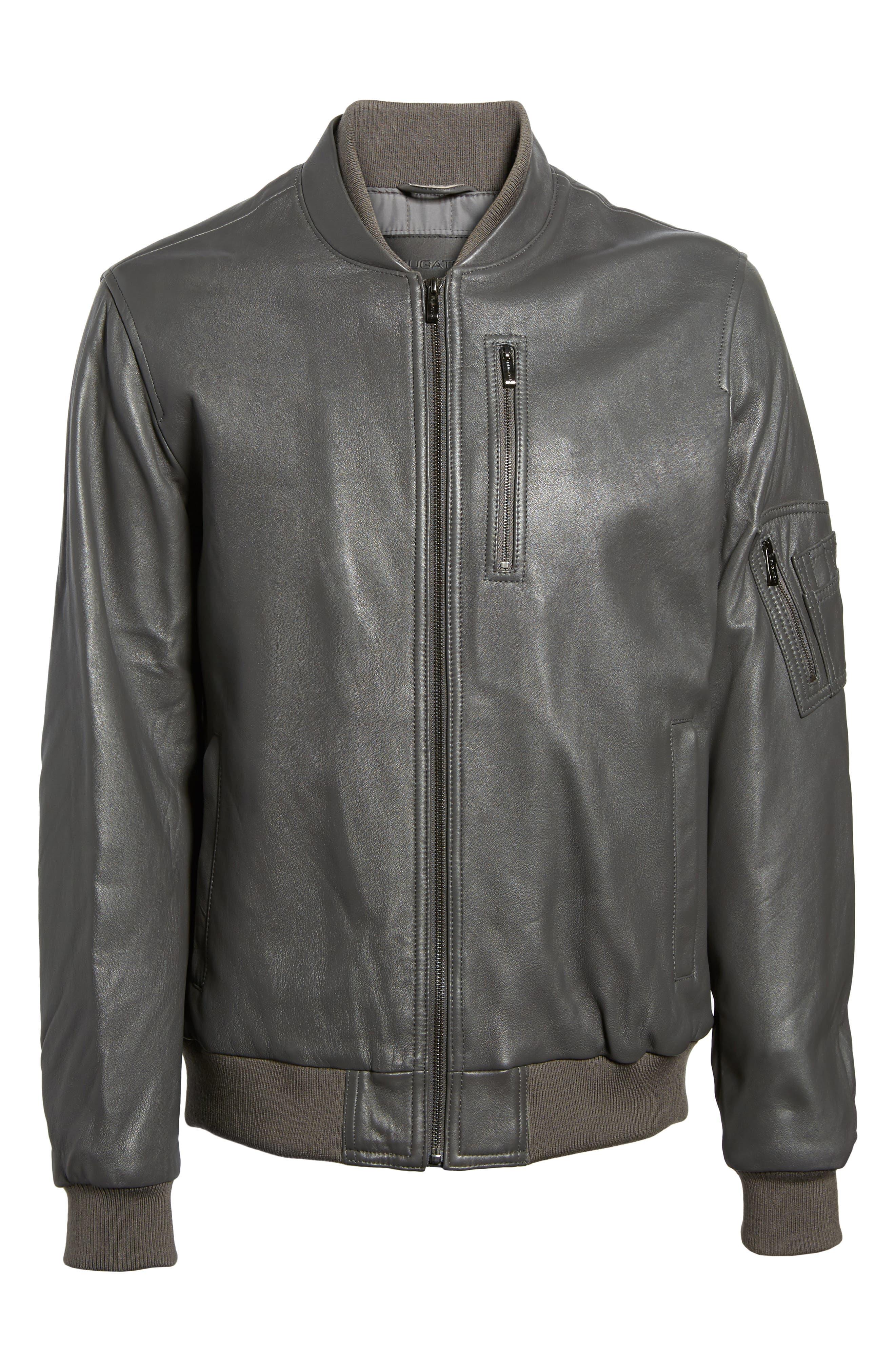 Alternate Image 6  - Bugatchi Leather Bomber Jacket
