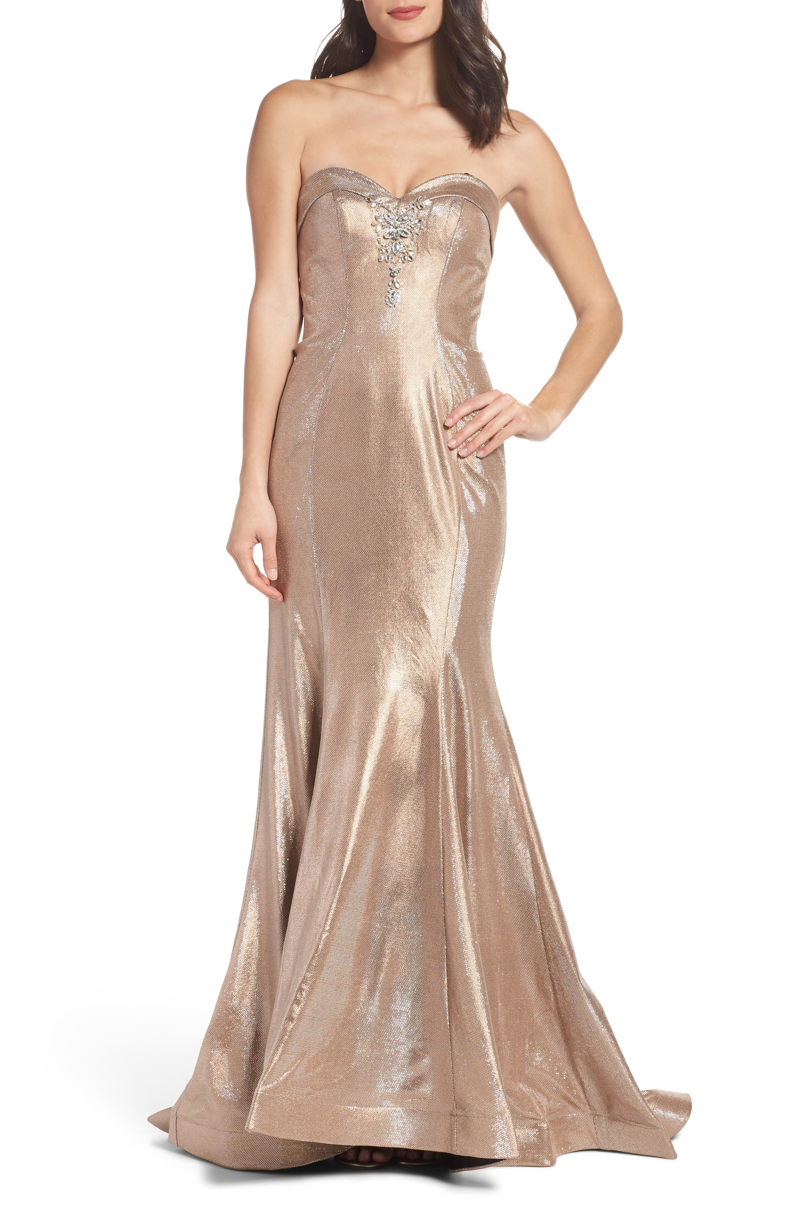 Metallic Mermaid Gown,                             Main thumbnail 1, color,                             Nude/Silver