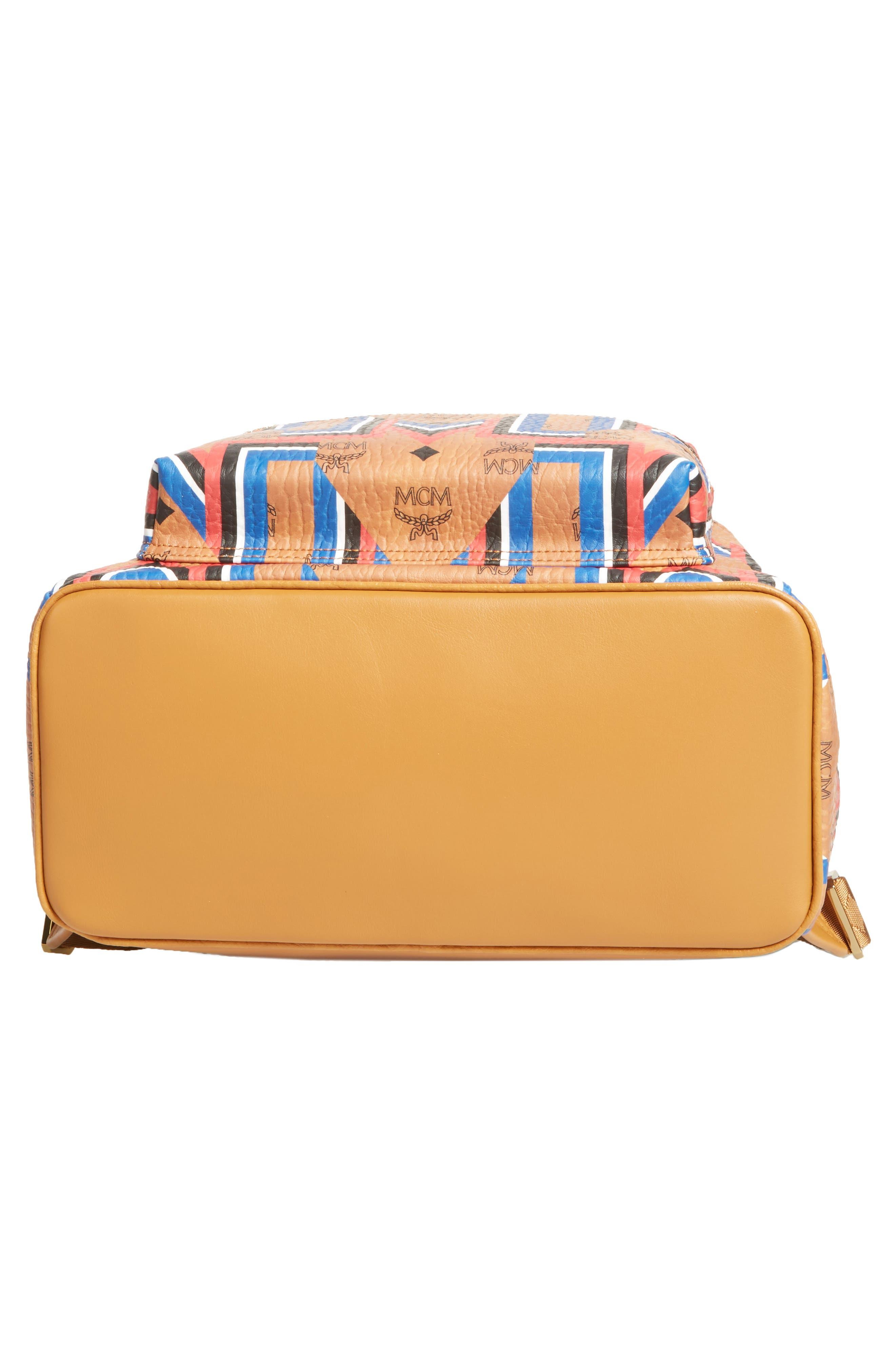 Stark Gunta Visetos Print Faux Leather Backpack,                             Alternate thumbnail 6, color,                             Cognac