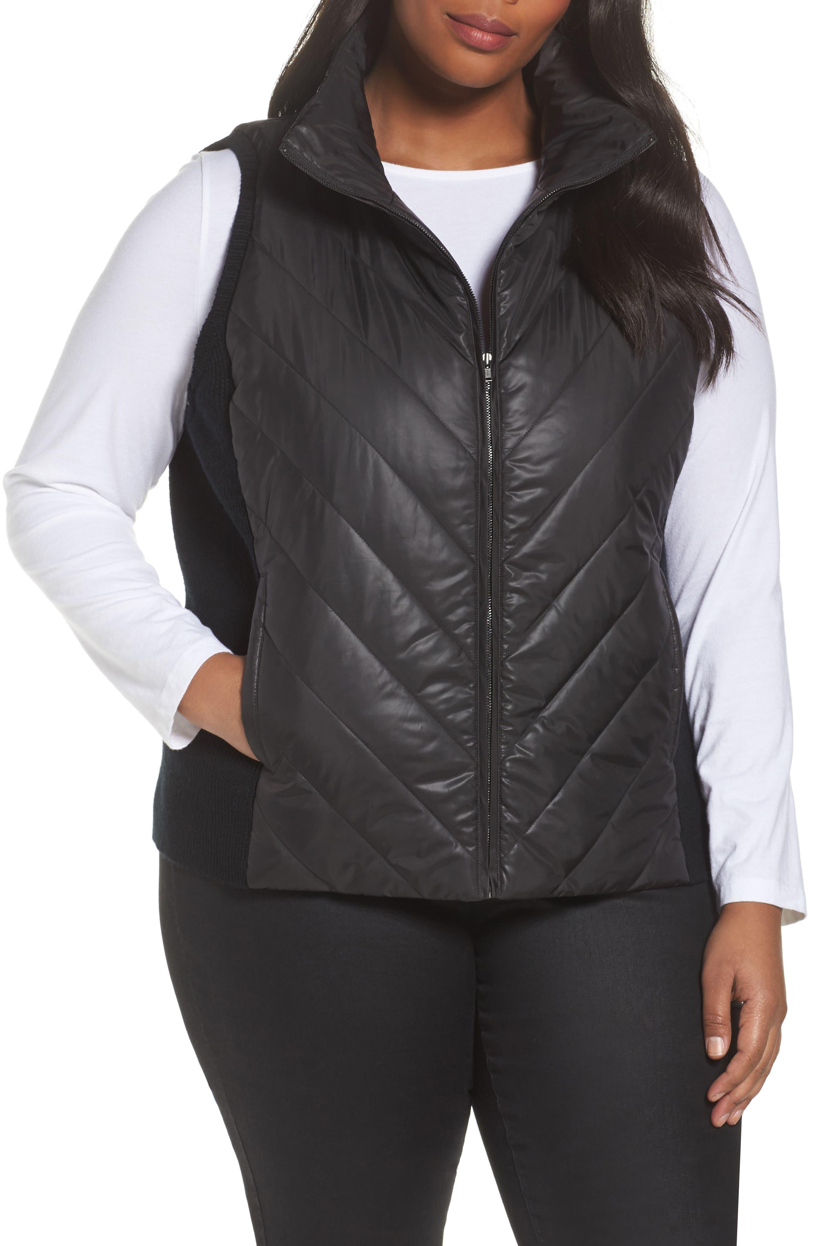 Merino Wool Trim Puffer Vest,                             Main thumbnail 1, color,                             Black