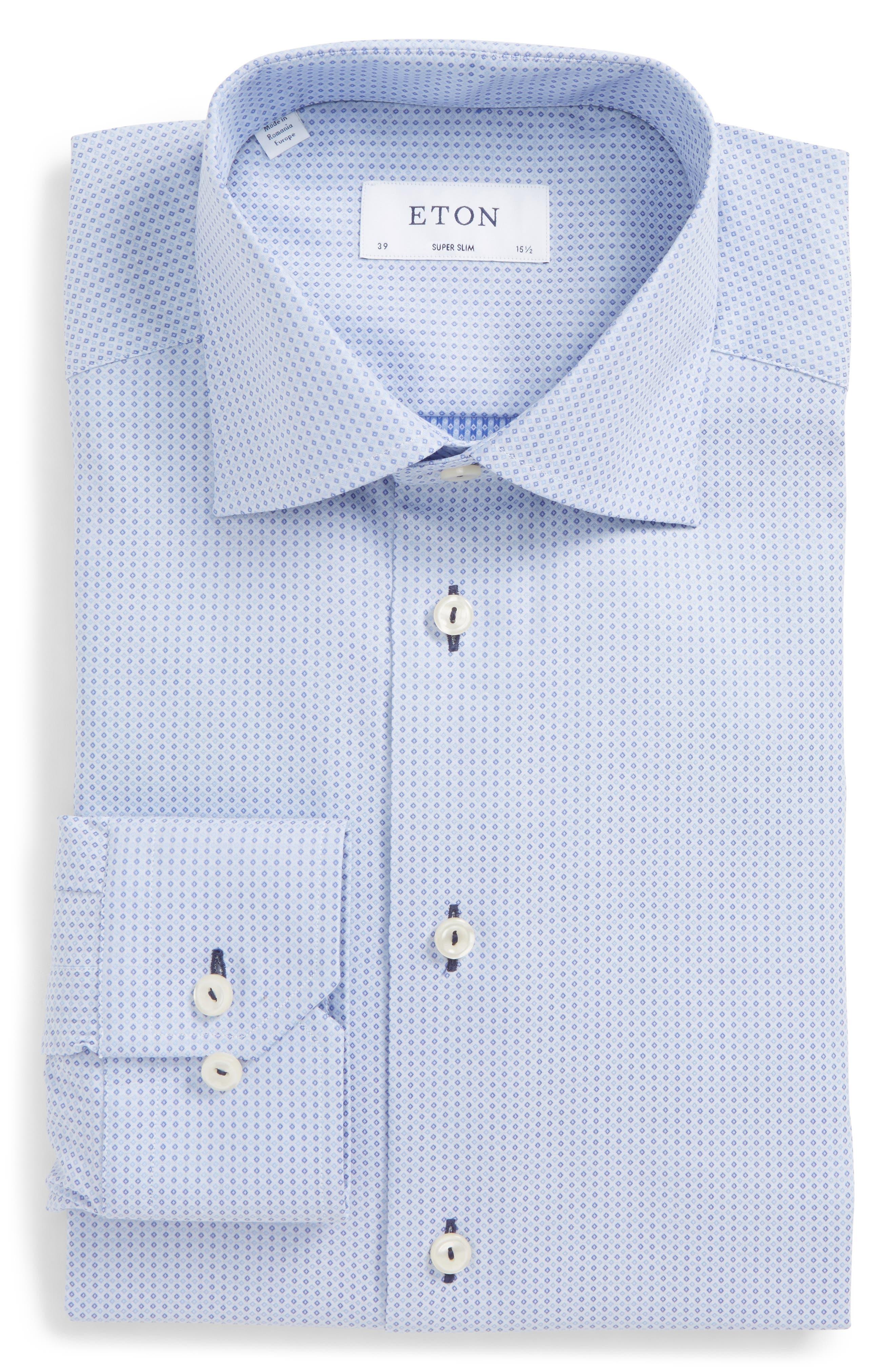 Super Slim Fit Grid Dress Shirt,                         Main,                         color, Blue