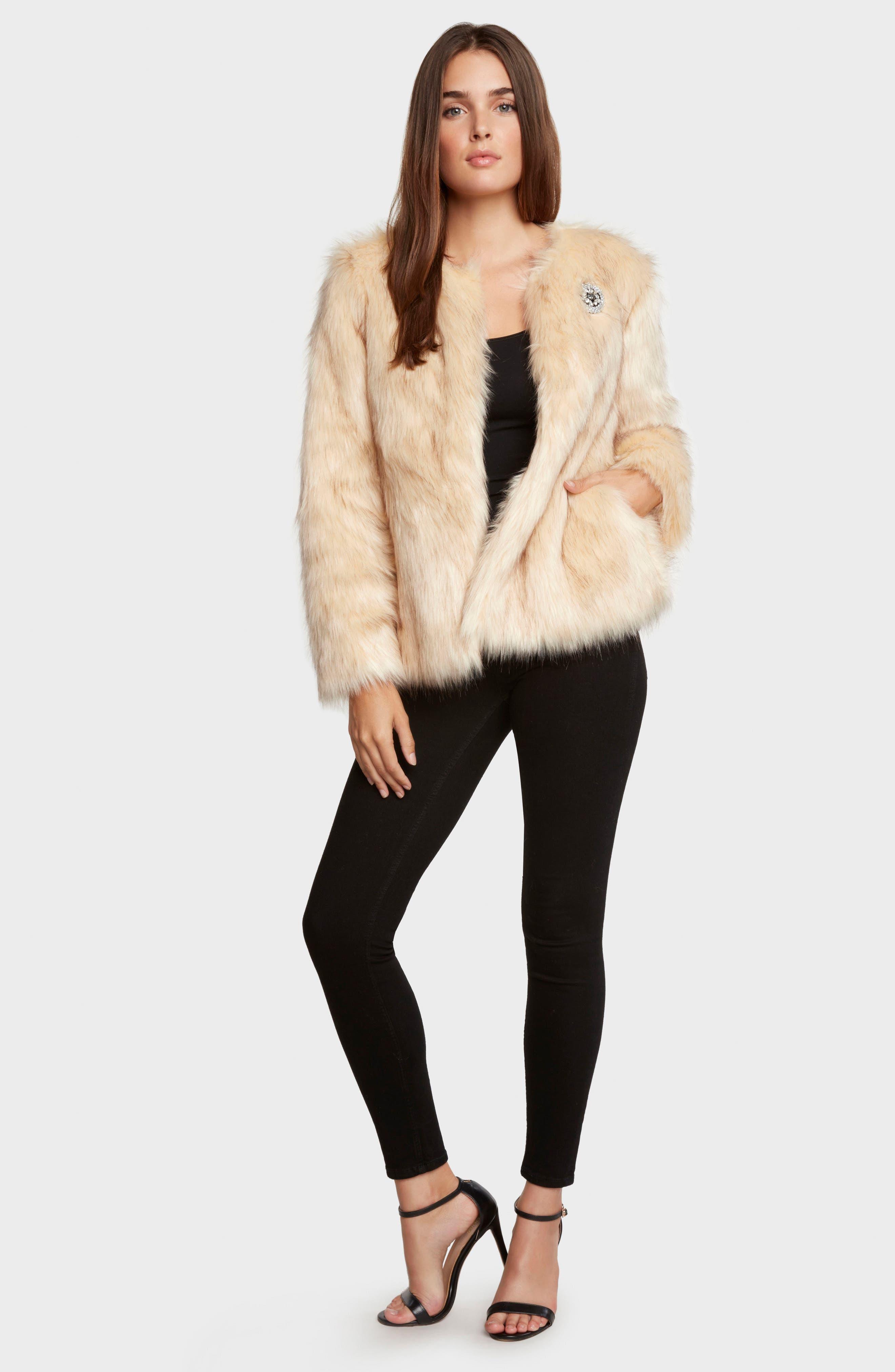 Faux Fur Jacket,                             Main thumbnail 1, color,                             Natural