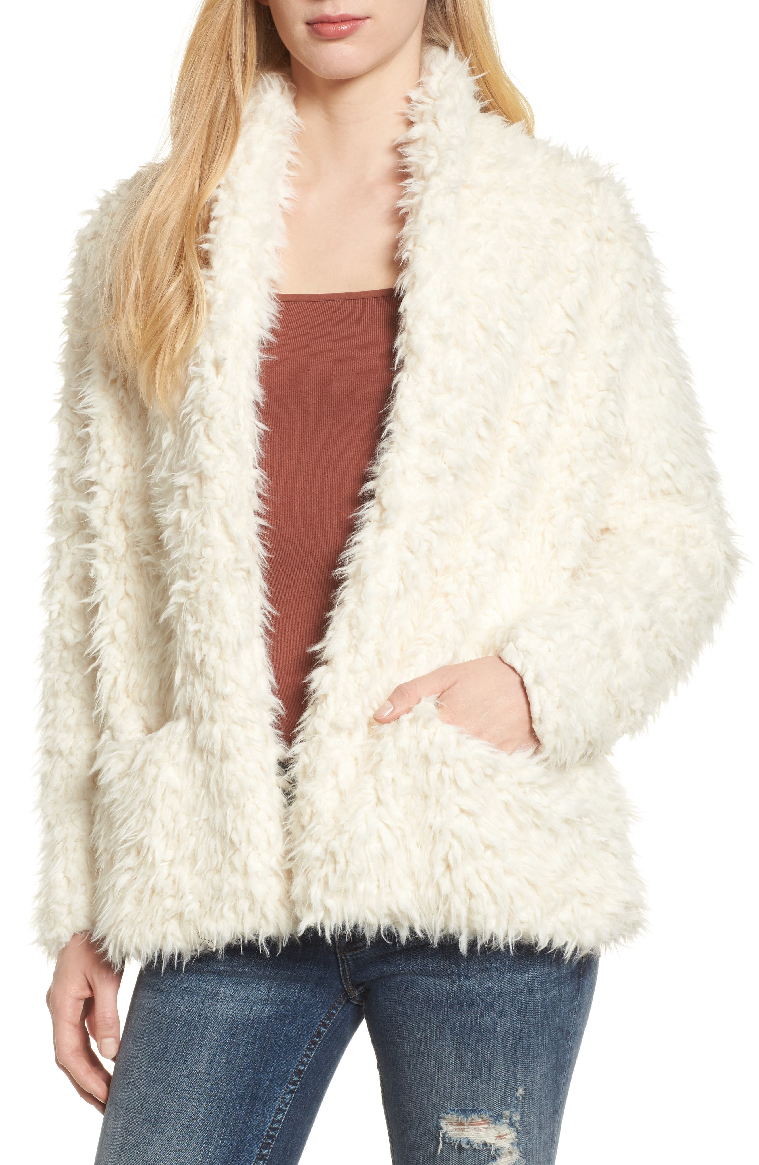 Faux Fur Jacket,                             Main thumbnail 1, color,                             Ivory