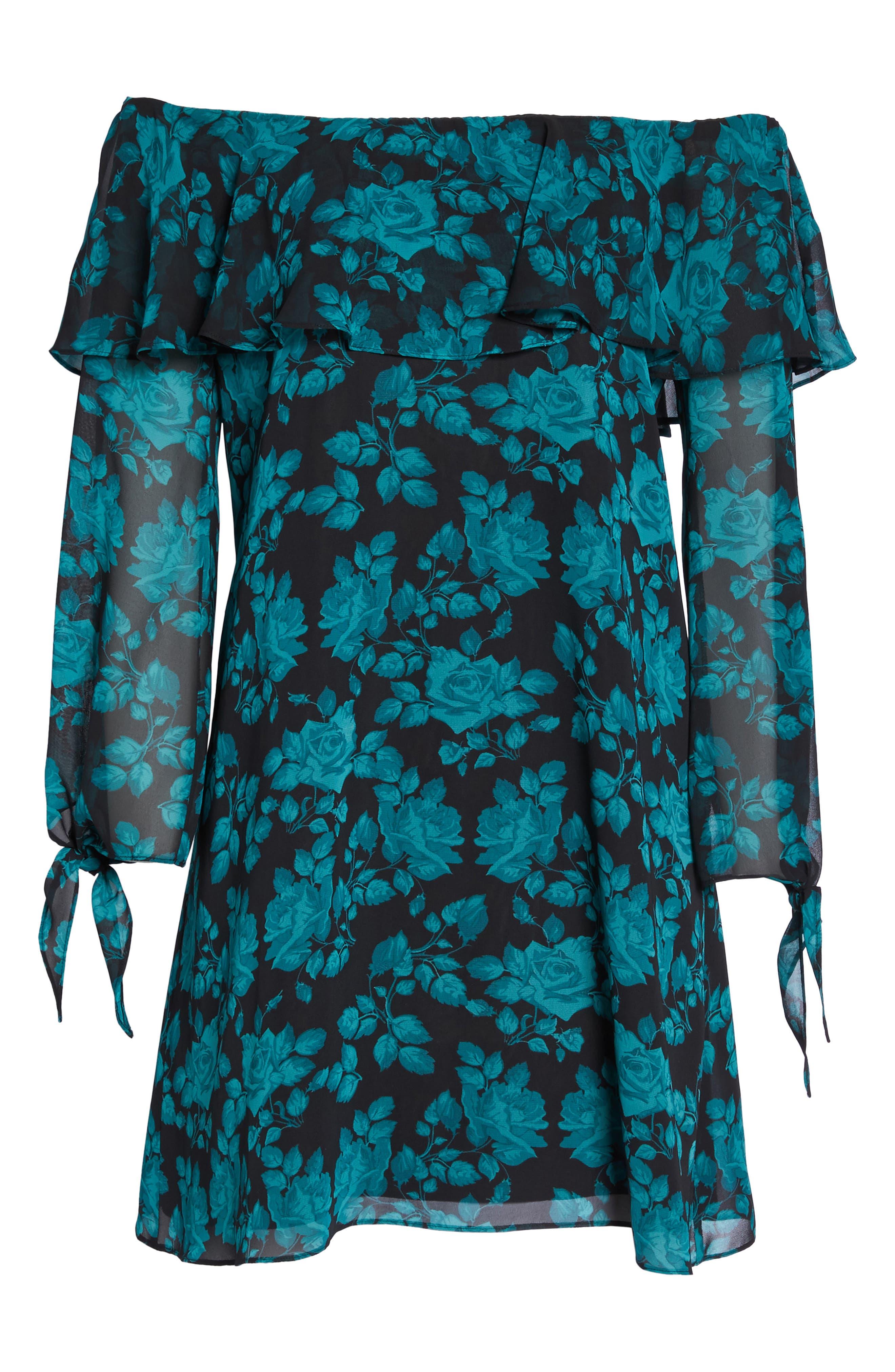 Off the Shoulder Shift Dress,                         Main,                         color, Teal Rose