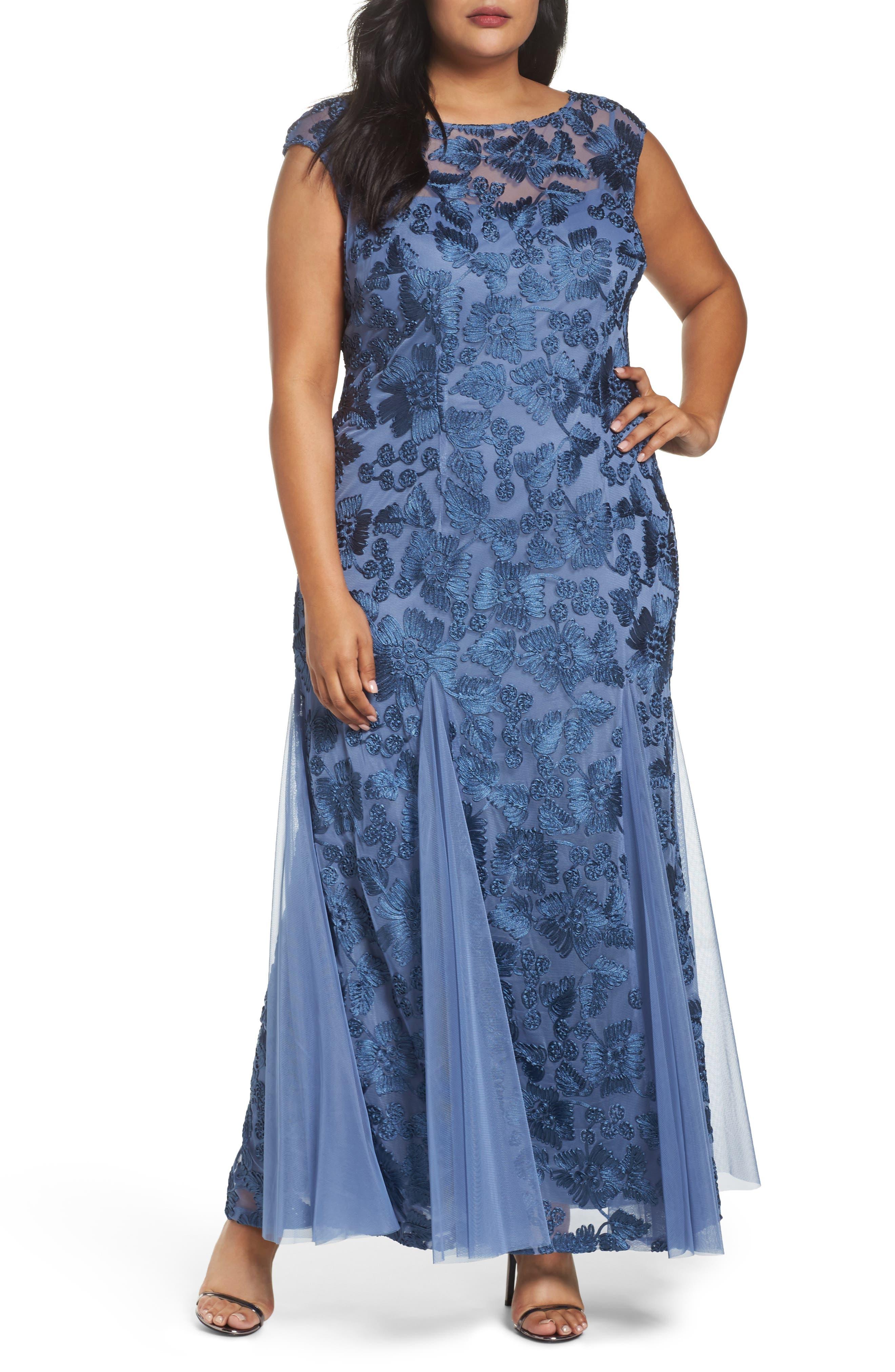 Alex Evenings Soutache Stretch Tulle A-Line Gown (Plus Size)