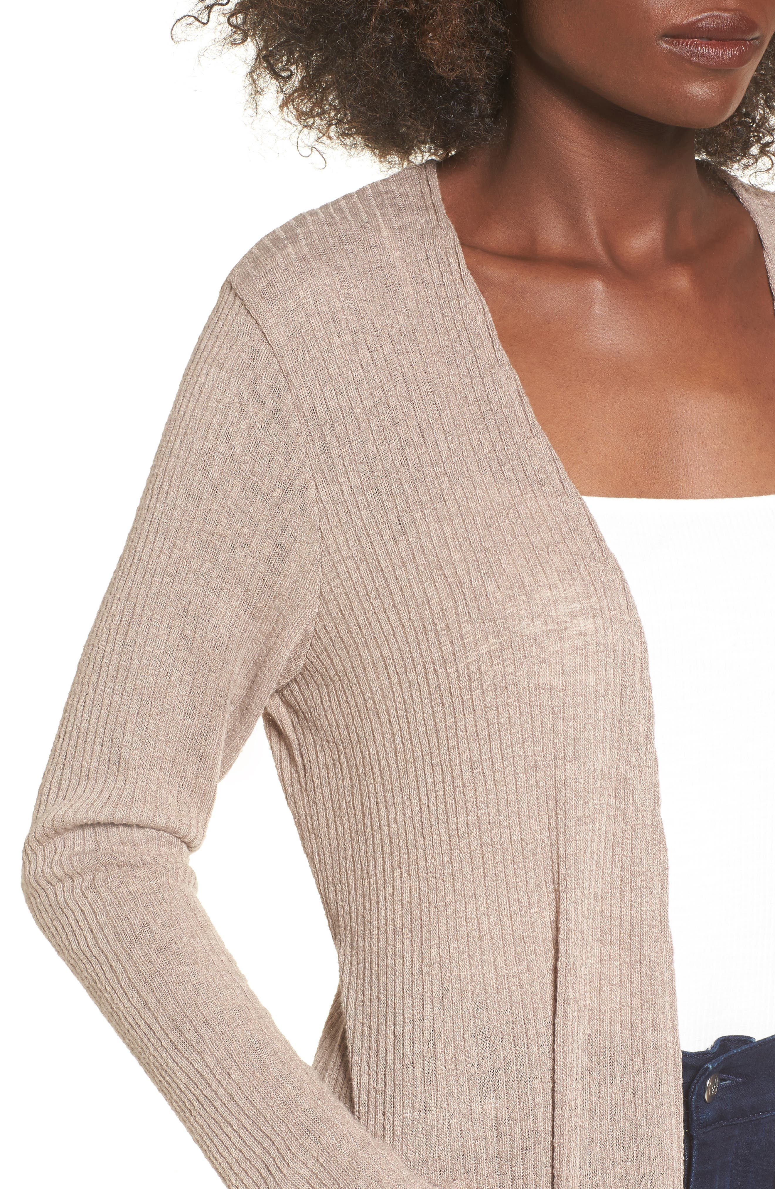 Ribbed Knit Cardigan,                             Alternate thumbnail 4, color,                             Beige Morn
