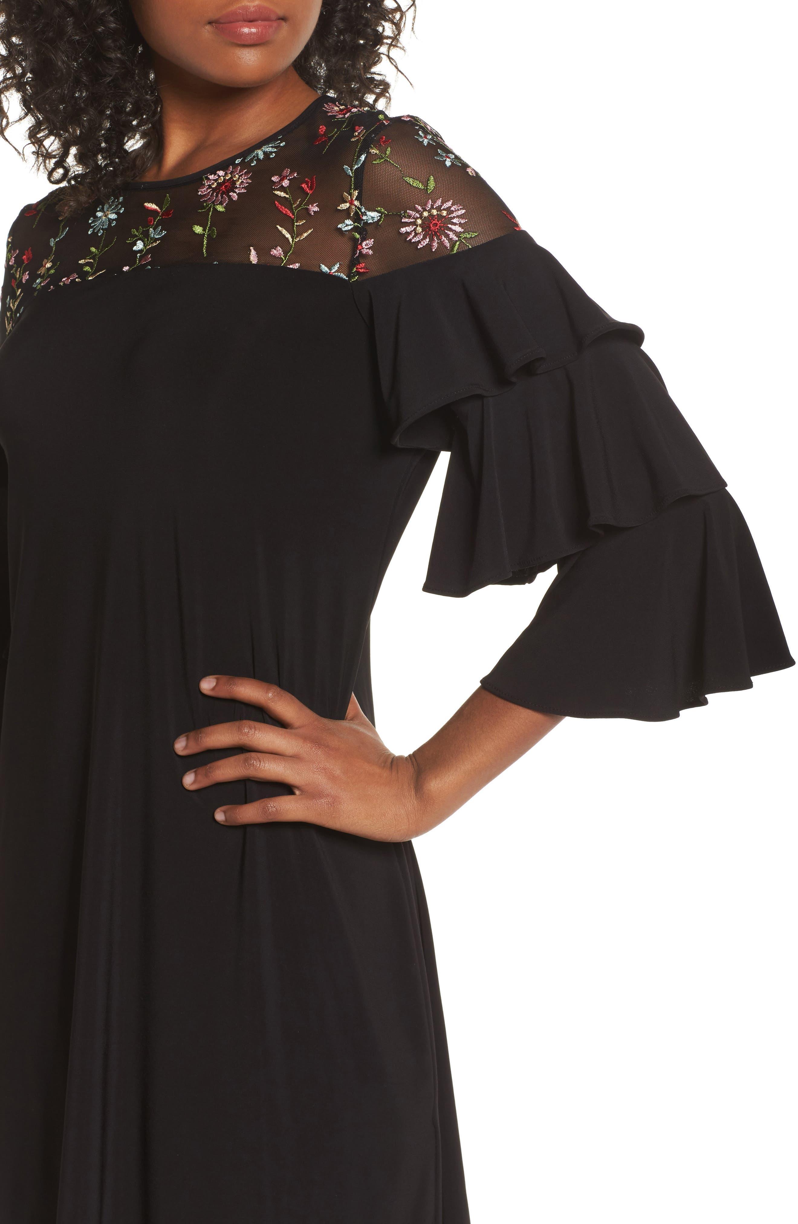 Tiered Sleeve Trapeze Dress,                             Alternate thumbnail 4, color,                             Black Multi