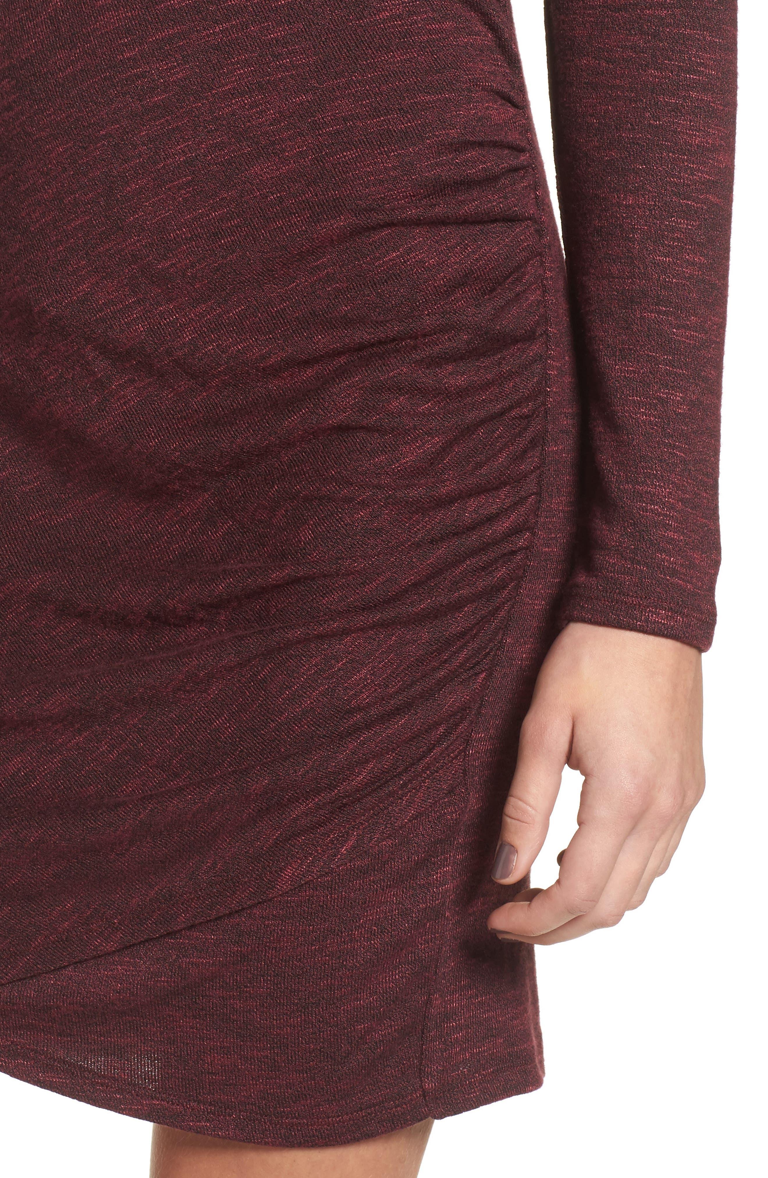 Ruched Knit Dress,                             Alternate thumbnail 4, color,                             Zinfandel
