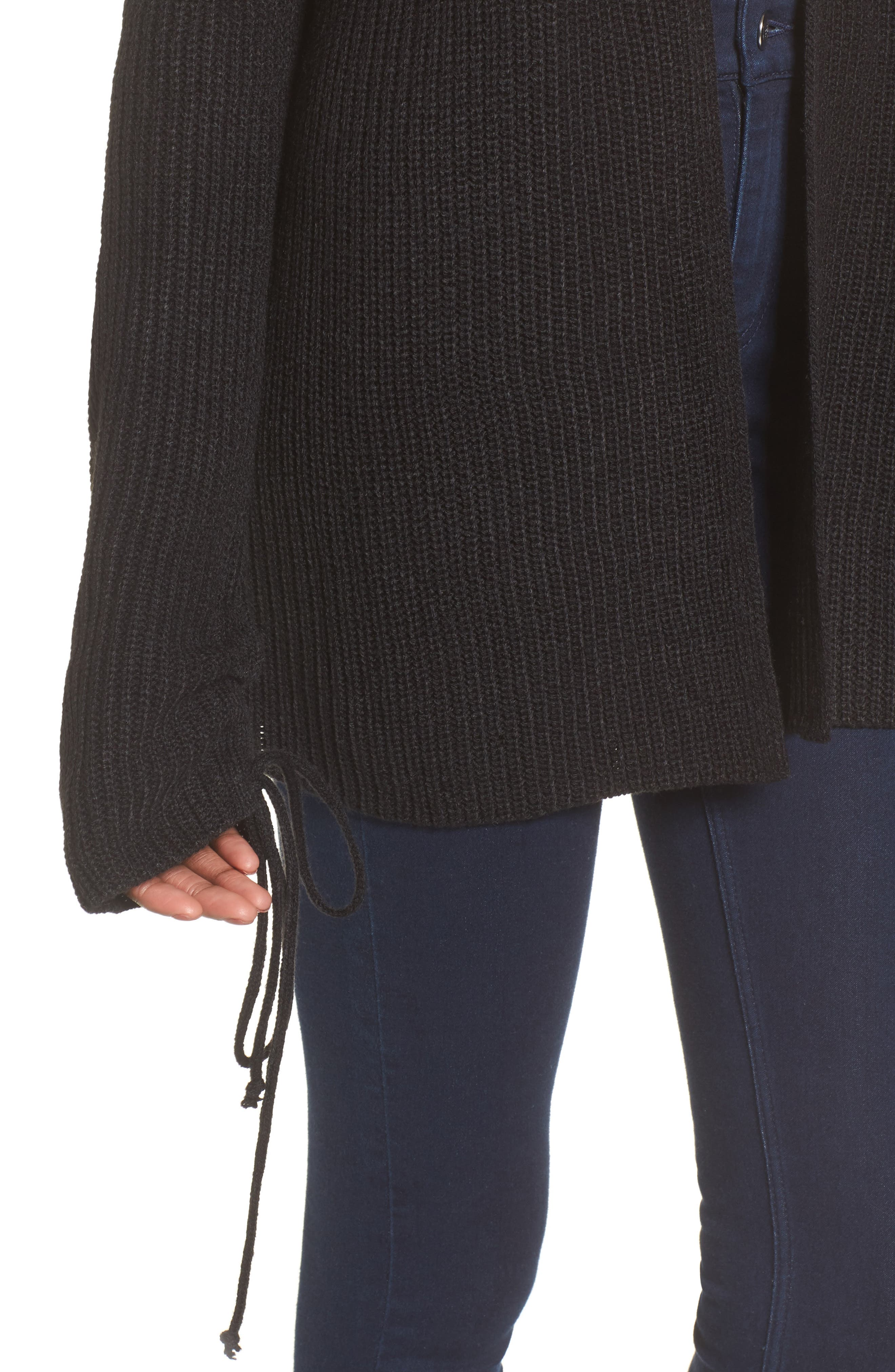 Tie Sleeve Cardigan,                             Alternate thumbnail 4, color,                             Black