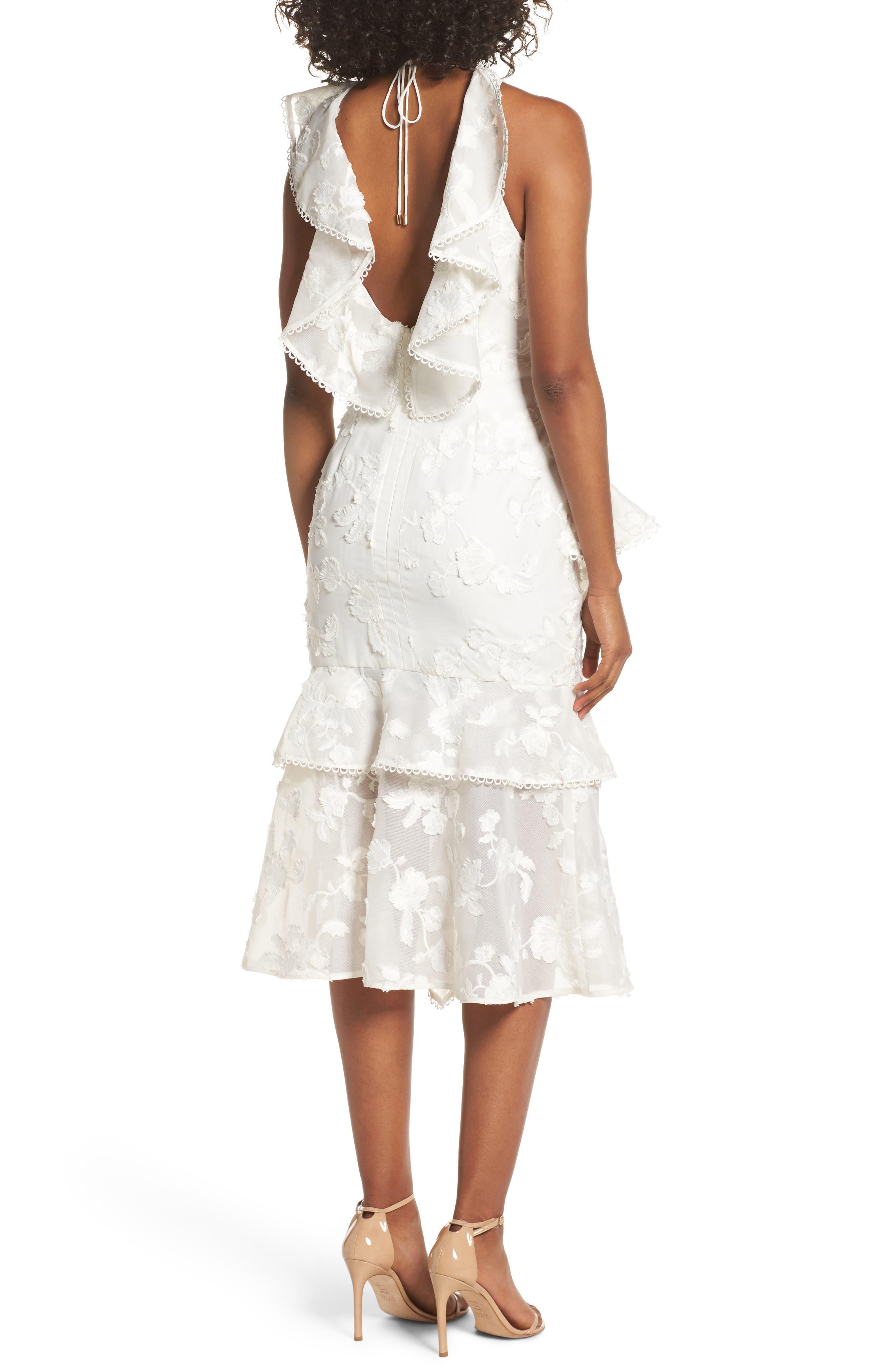 Shine Ruffle Lace Tea Length Dress,                             Alternate thumbnail 2, color,                             Ivory