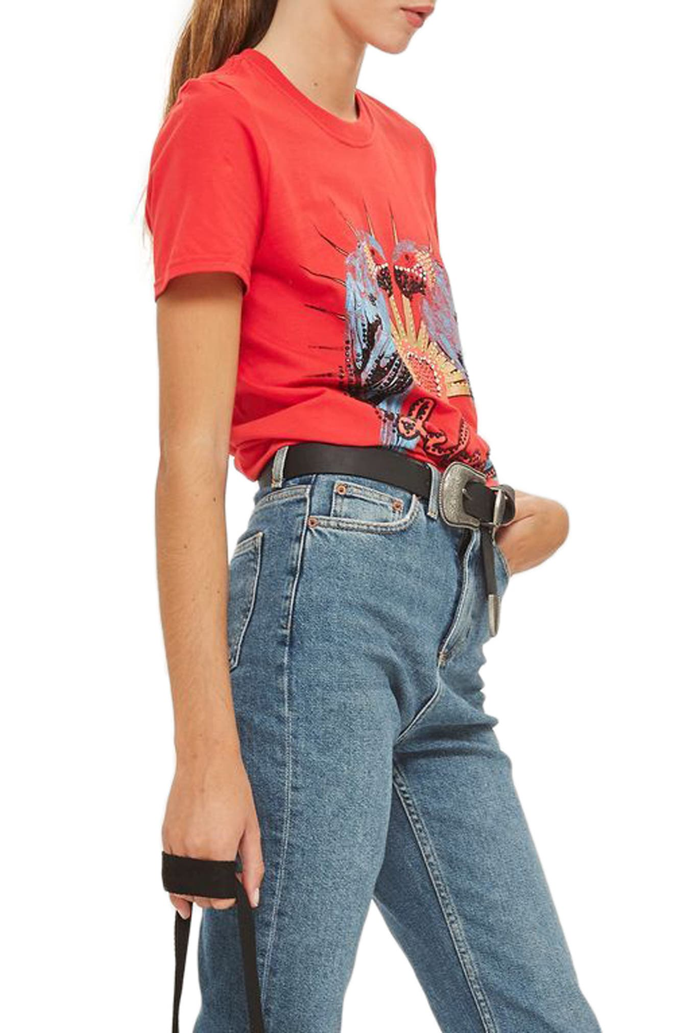 Jeweled Parrot Graphic Tee,                         Main,                         color, Red Multi
