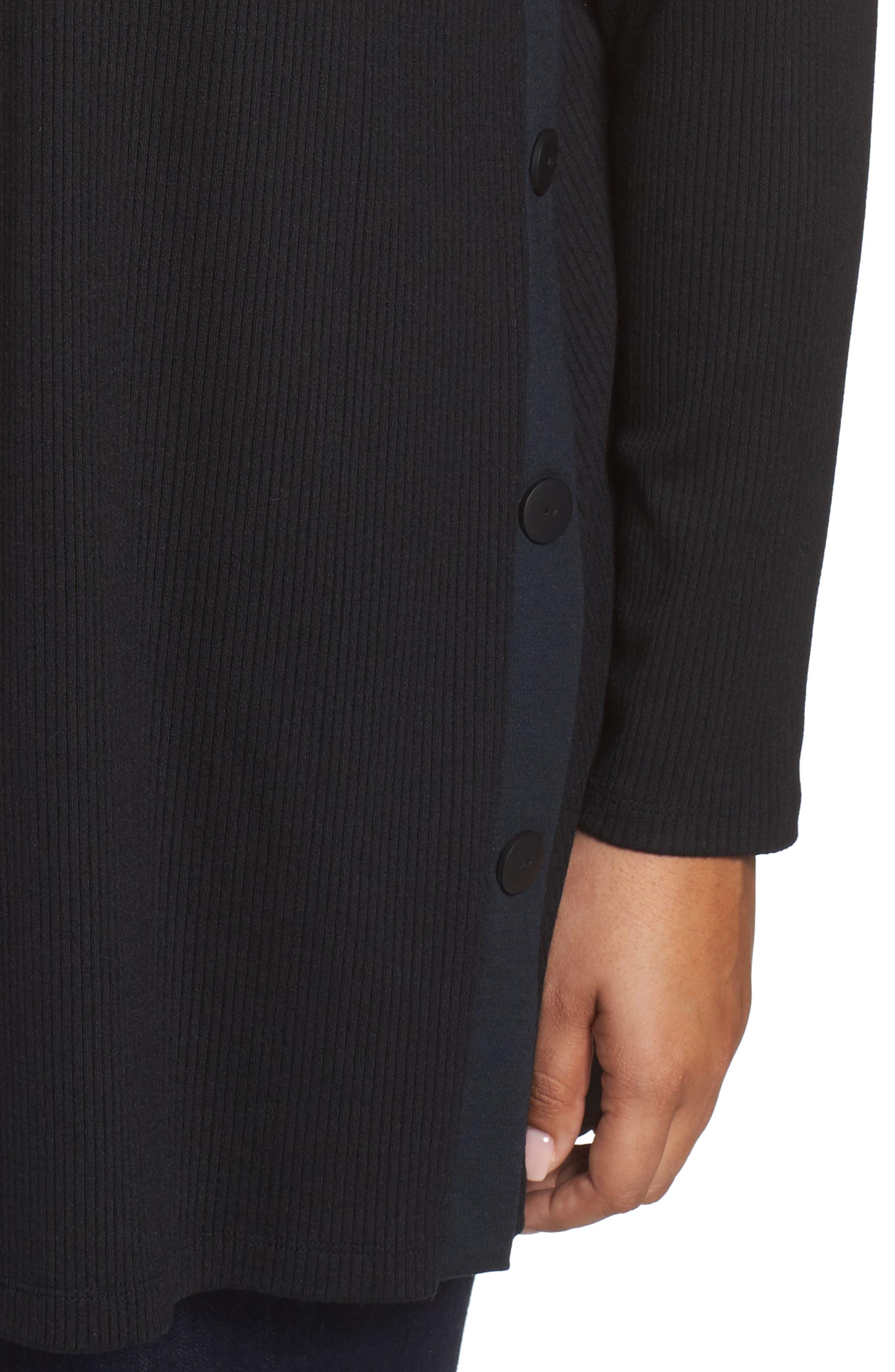 Easy Long Open Front Cardigan,                             Alternate thumbnail 4, color,                             Black