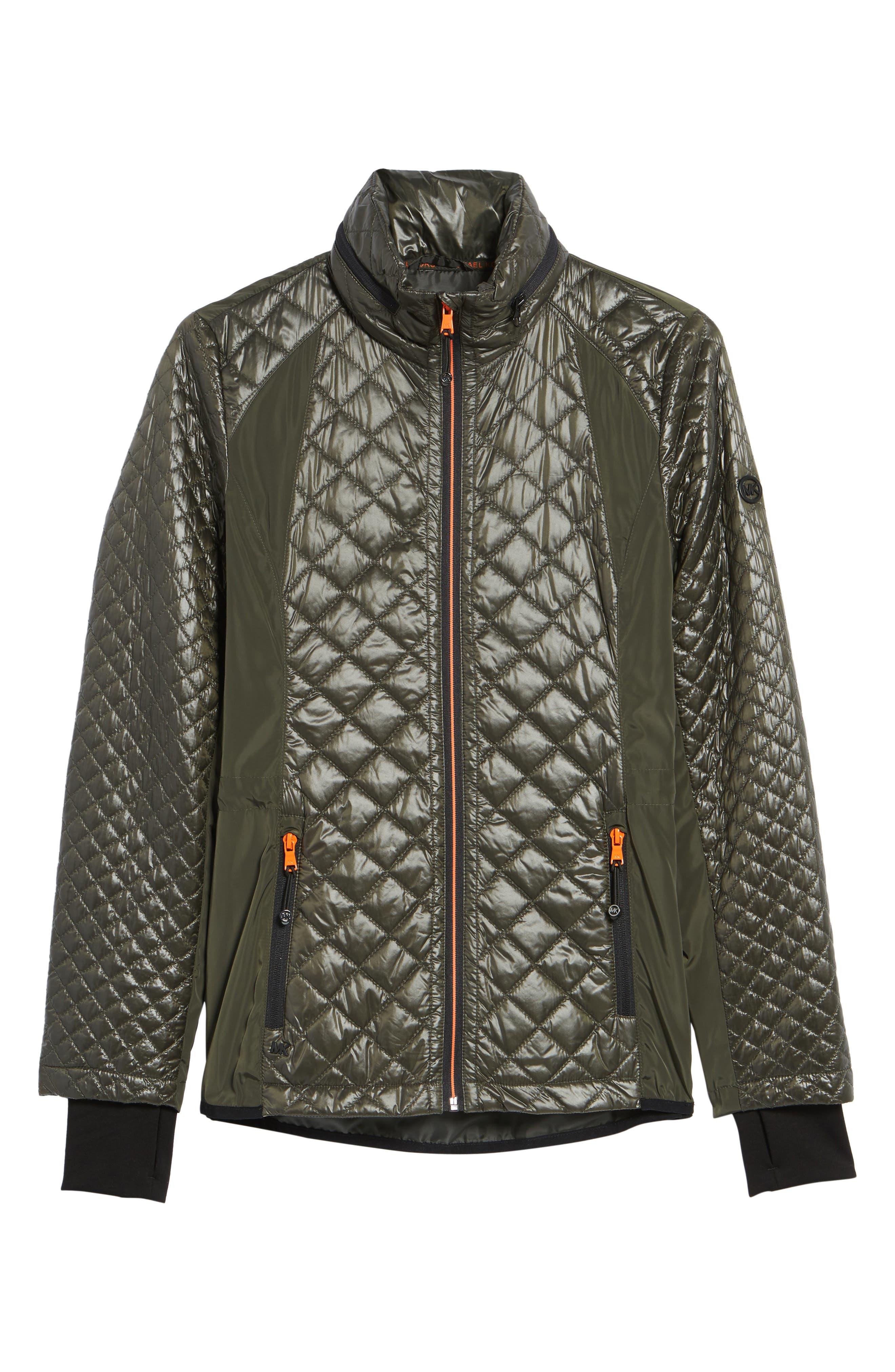 Neoprene & Diamond Quilted Jacket,                             Alternate thumbnail 6, color,                             Olive