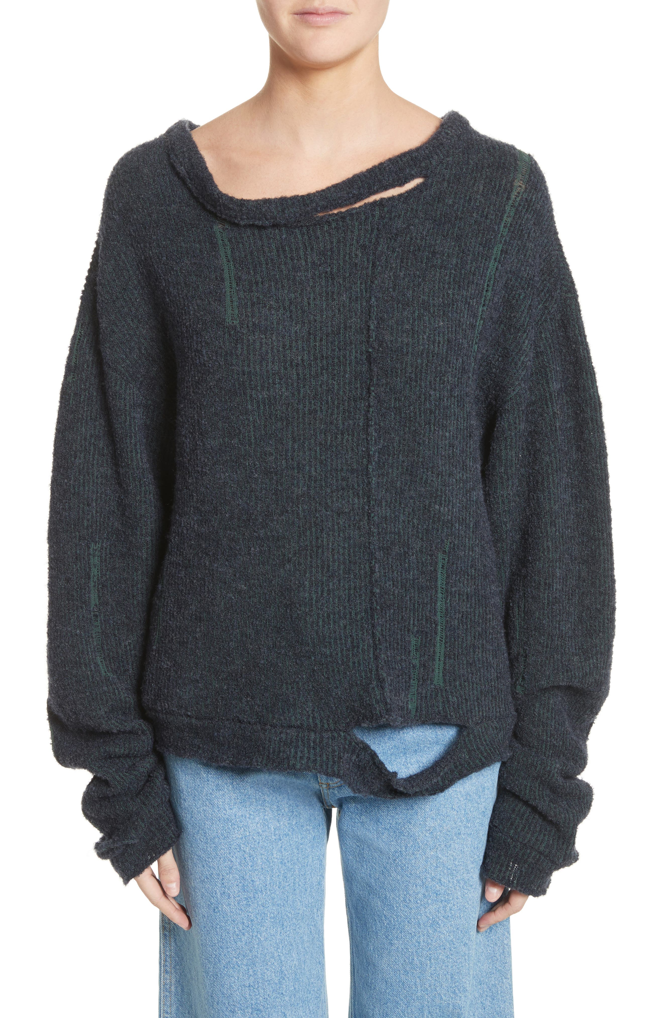 Wiggly Road Sweater,                             Main thumbnail 1, color,                             Navy
