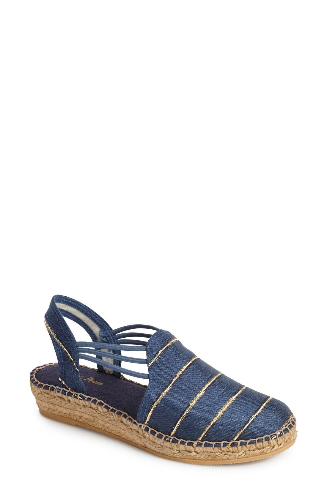 'Nantes' Silk Stripe Sandal,                             Main thumbnail 1, color,                             Stripe Navy