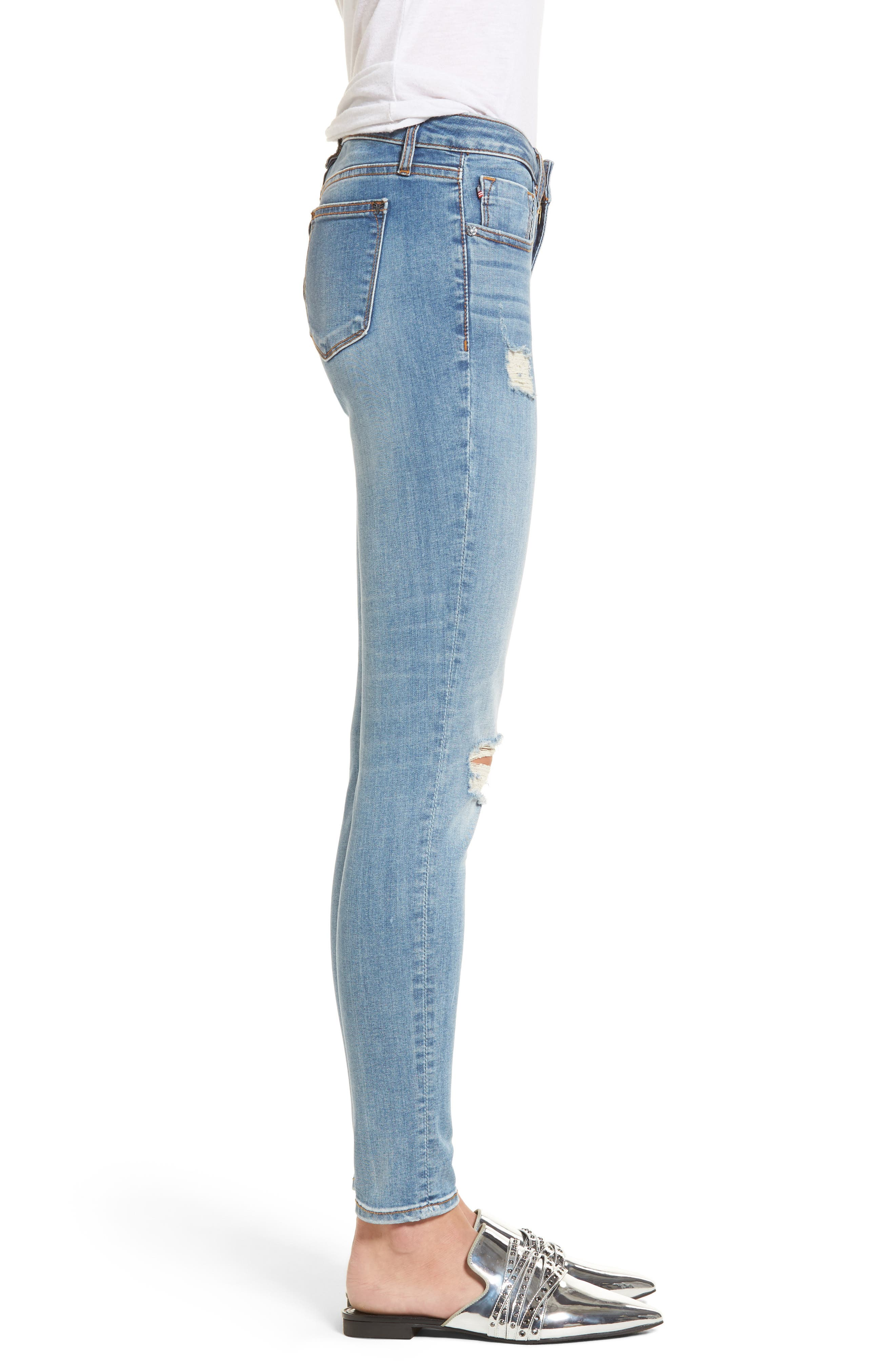 Edie Distressed Skinny Jeans,                             Alternate thumbnail 3, color,                             Light Wash