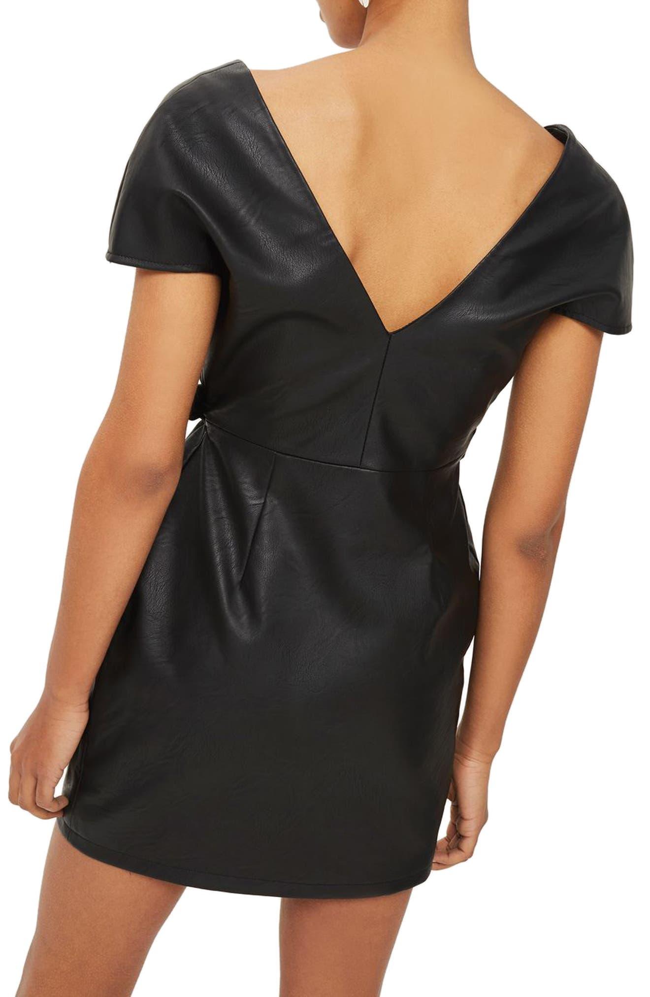 Faux Leather Wrap Dress,                             Alternate thumbnail 2, color,                             Black