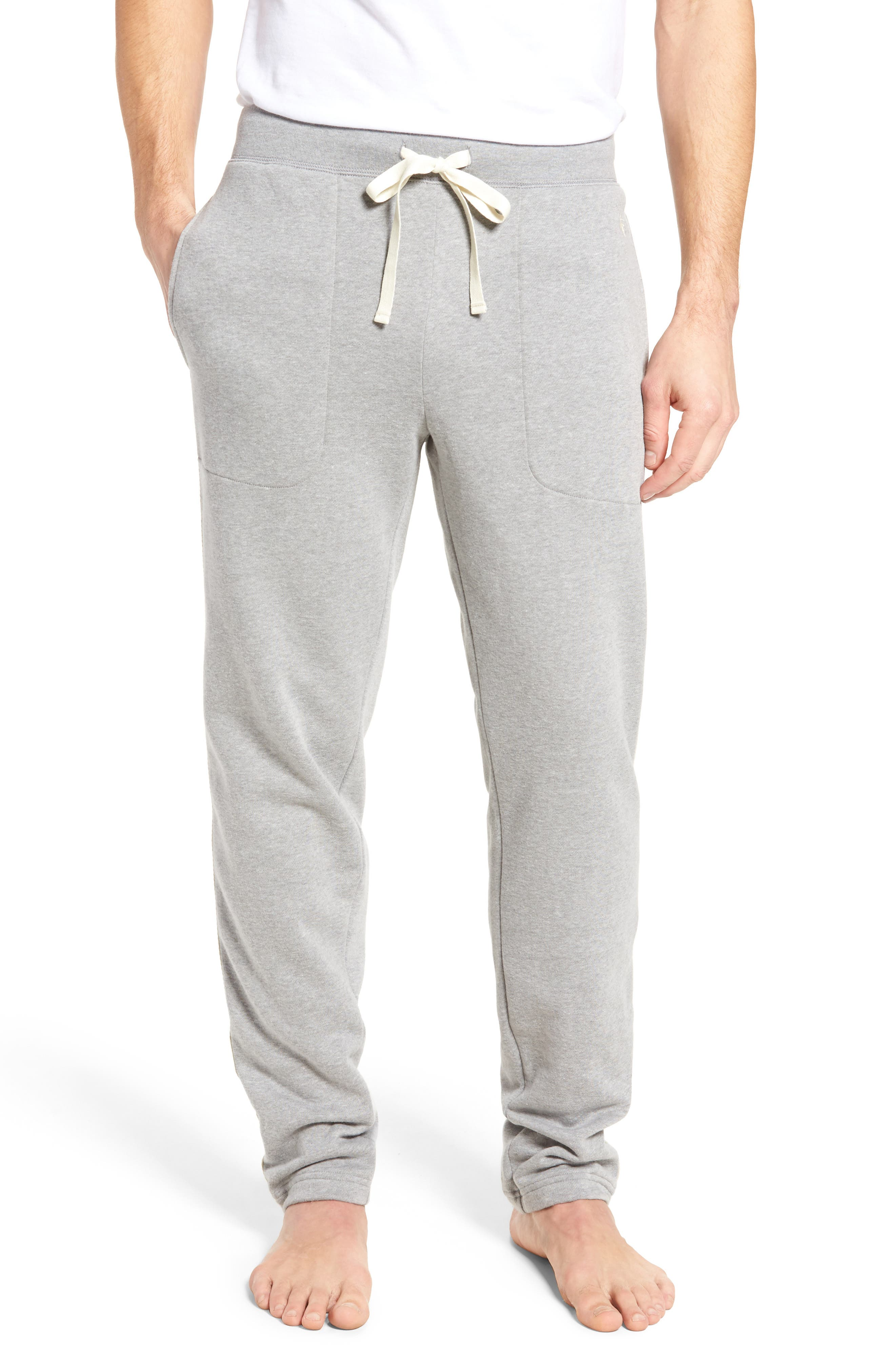 Slim Fit Brushed Fleece Pajama Pants,                             Main thumbnail 1, color,                             Andover Heather/ Cream