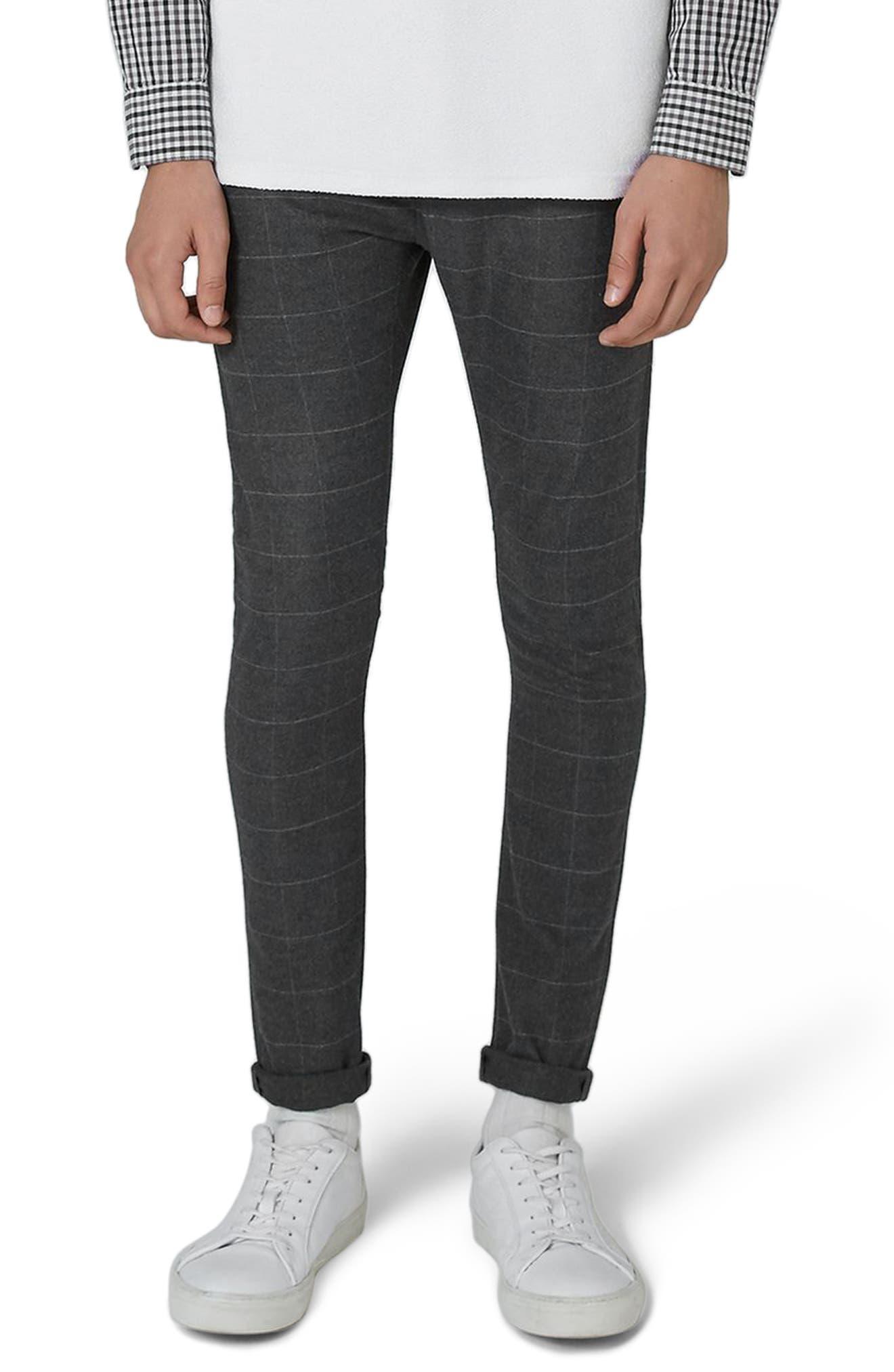 Check Spray-On Trousers,                         Main,                         color, Grey