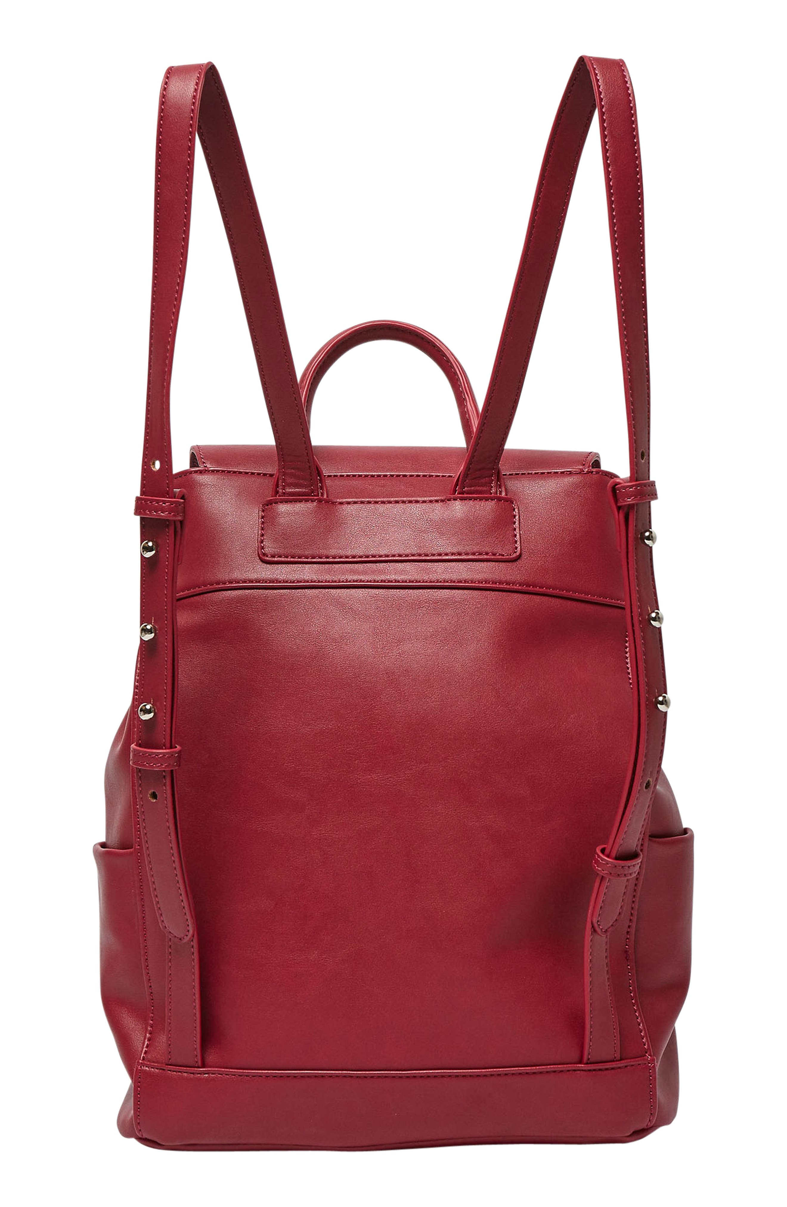 Splendour Vegan Leather Backpack,                             Alternate thumbnail 4, color,                             Cranberry