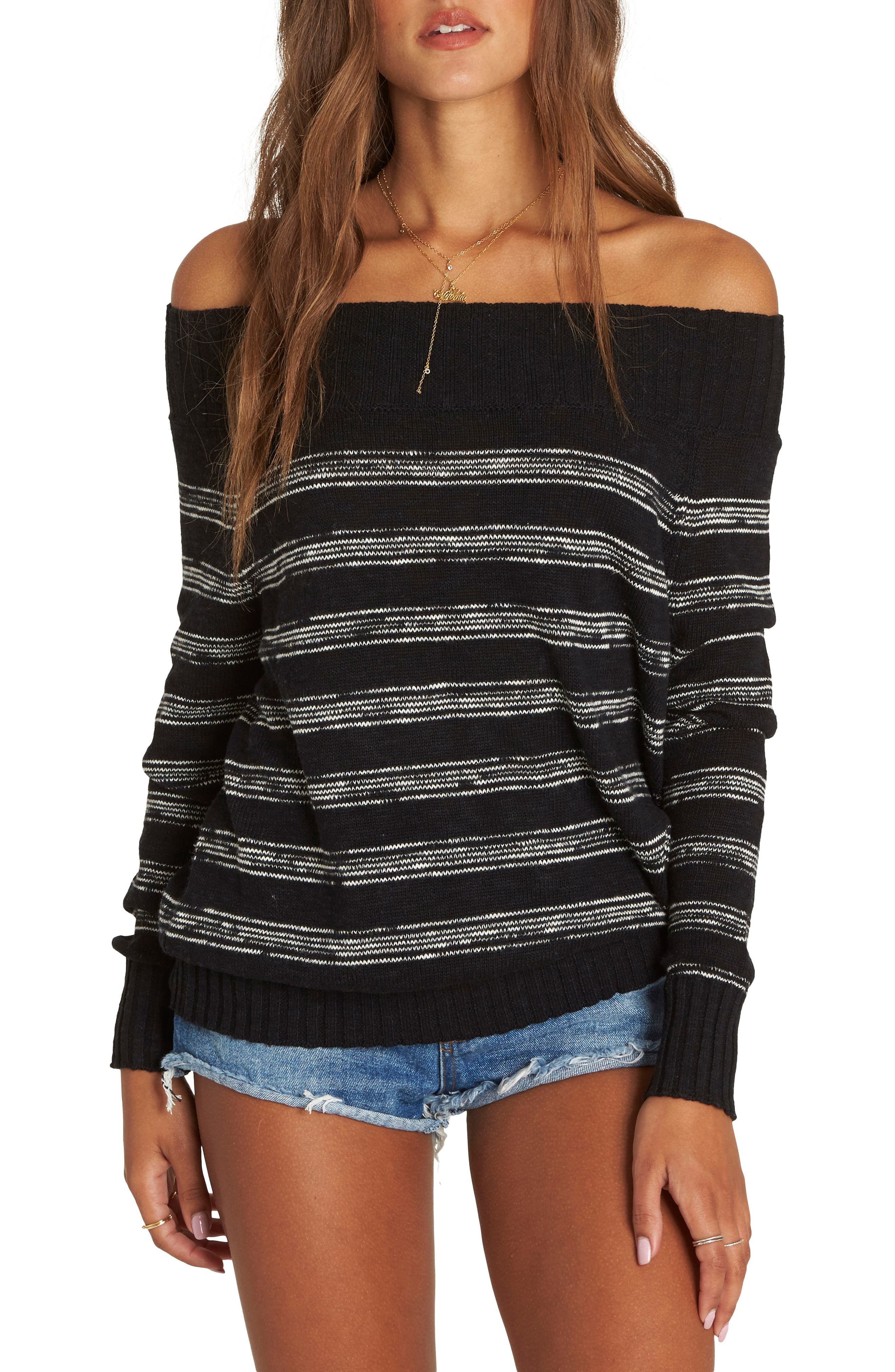 Snuggle Down Off the Shoulder Sweater,                             Main thumbnail 1, color,                             Black