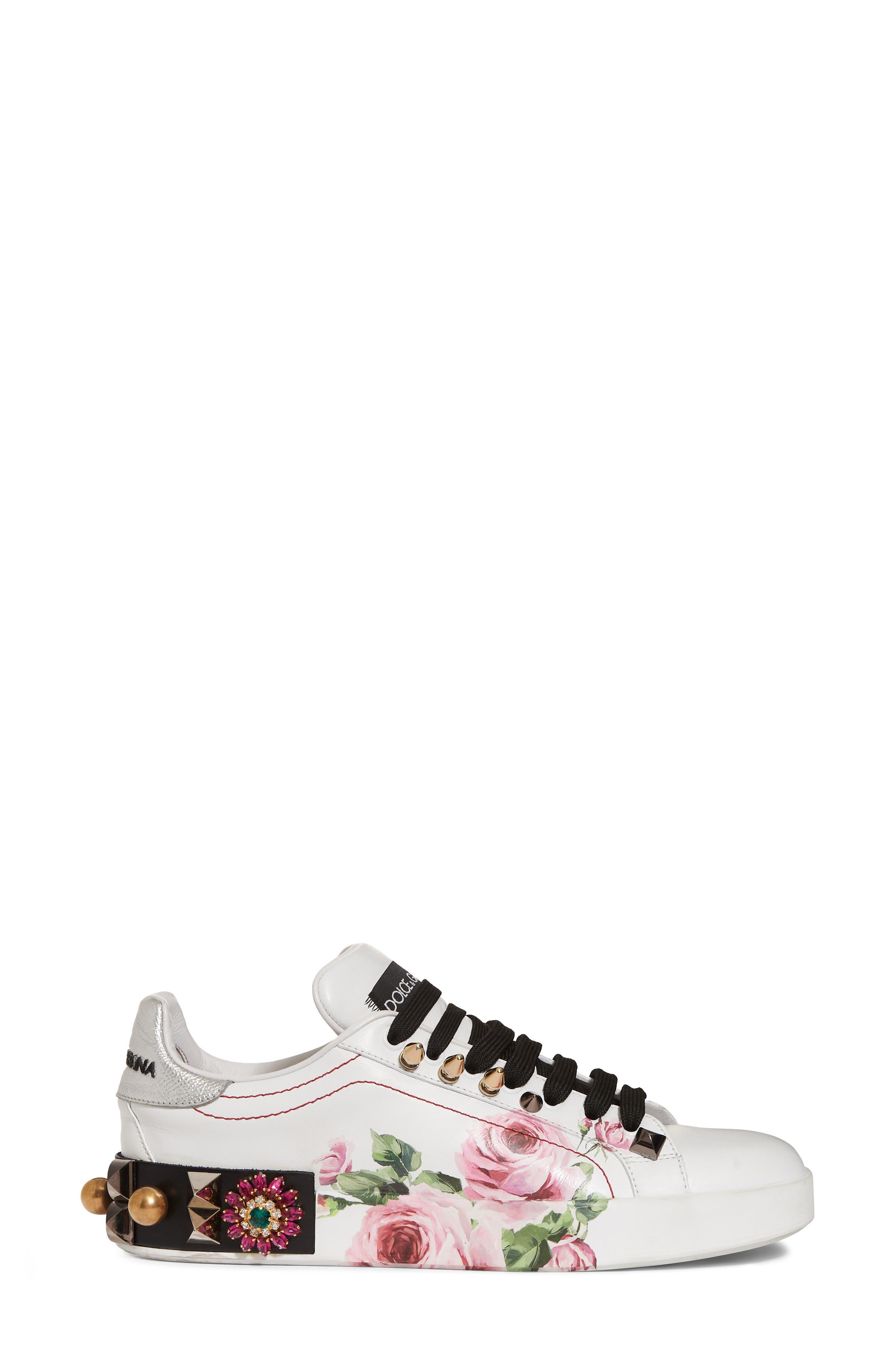 Floral Embellished Sneaker,                             Alternate thumbnail 3, color,                             White/ Pink Floral