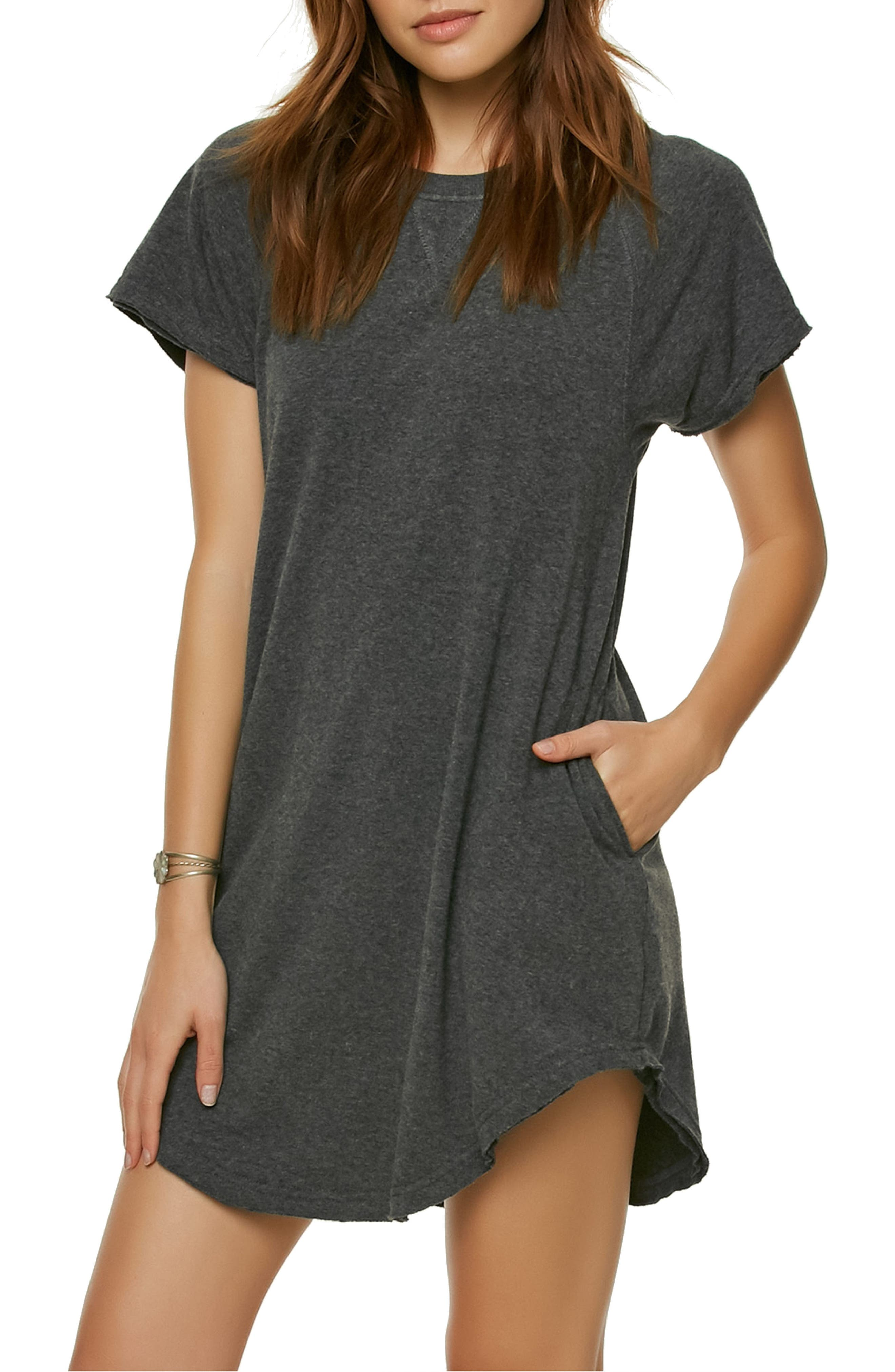 Morganne T-Shirt Dress,                         Main,                         color, Heather Black