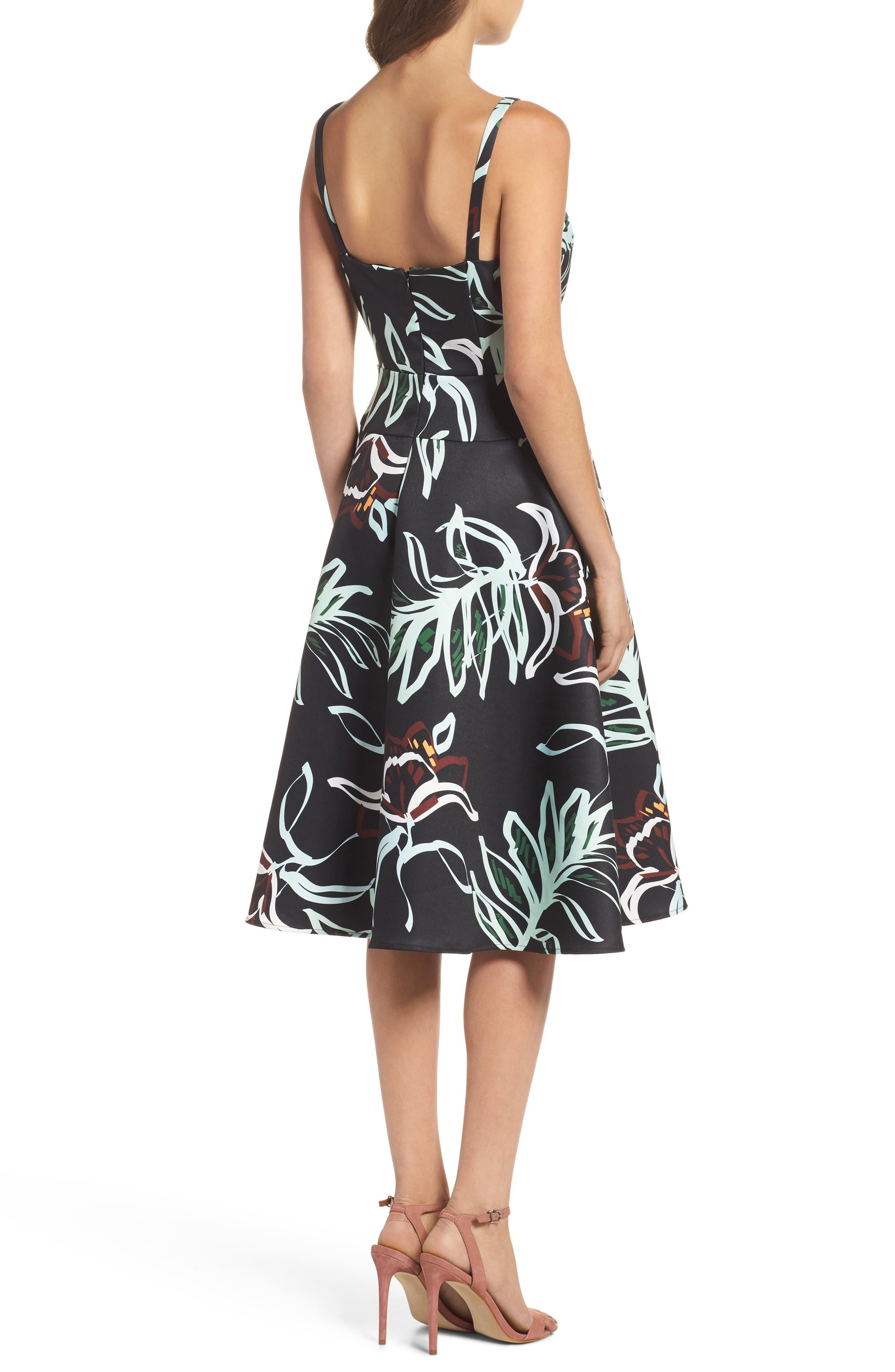 Rainforest Fit & Flare Dress,                             Alternate thumbnail 2, color,                             Print