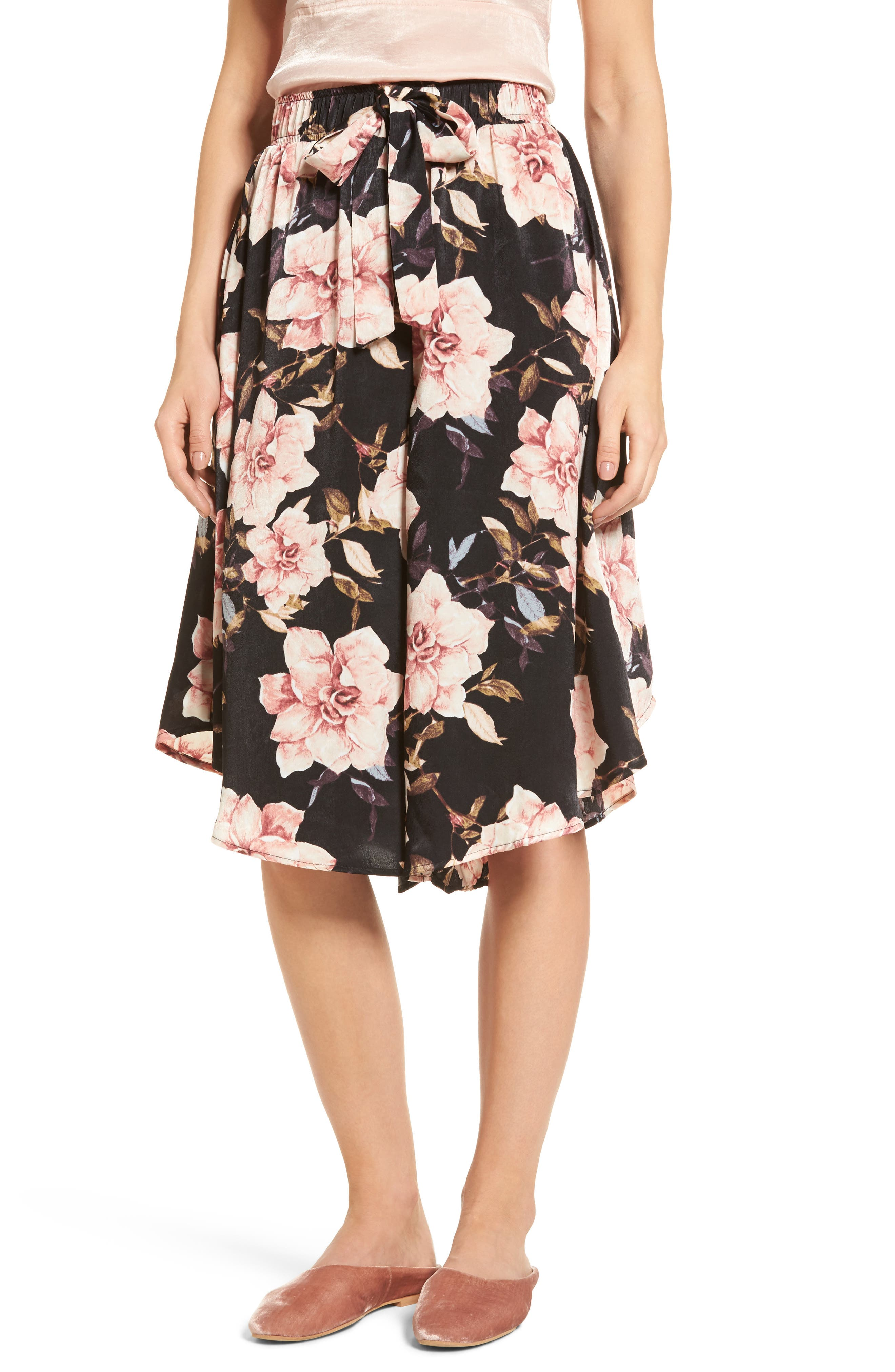 Floral Culottes,                             Main thumbnail 1, color,                             Black Garden Rose Floral