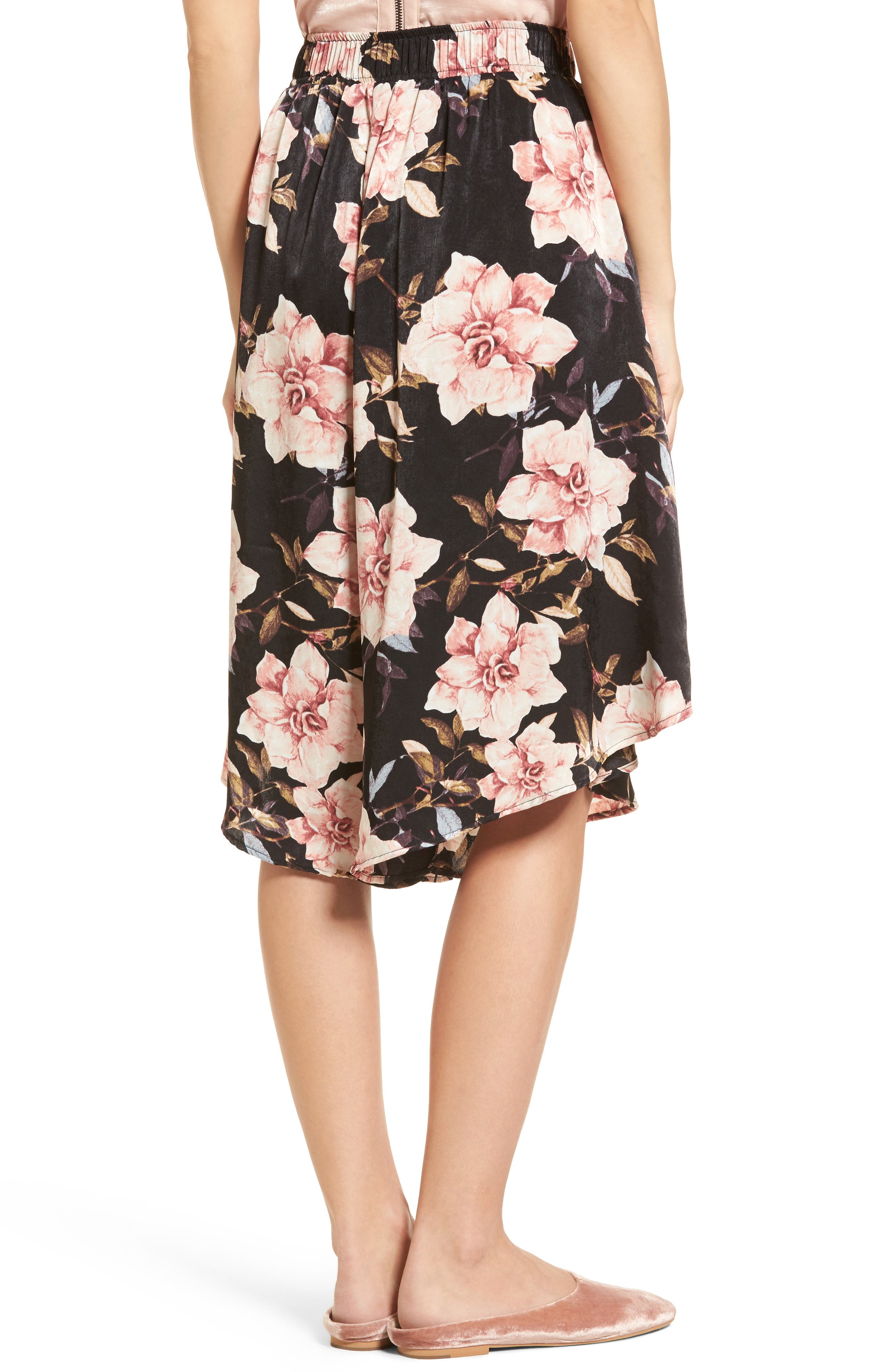 Floral Culottes,                             Alternate thumbnail 2, color,                             Black Garden Rose Floral