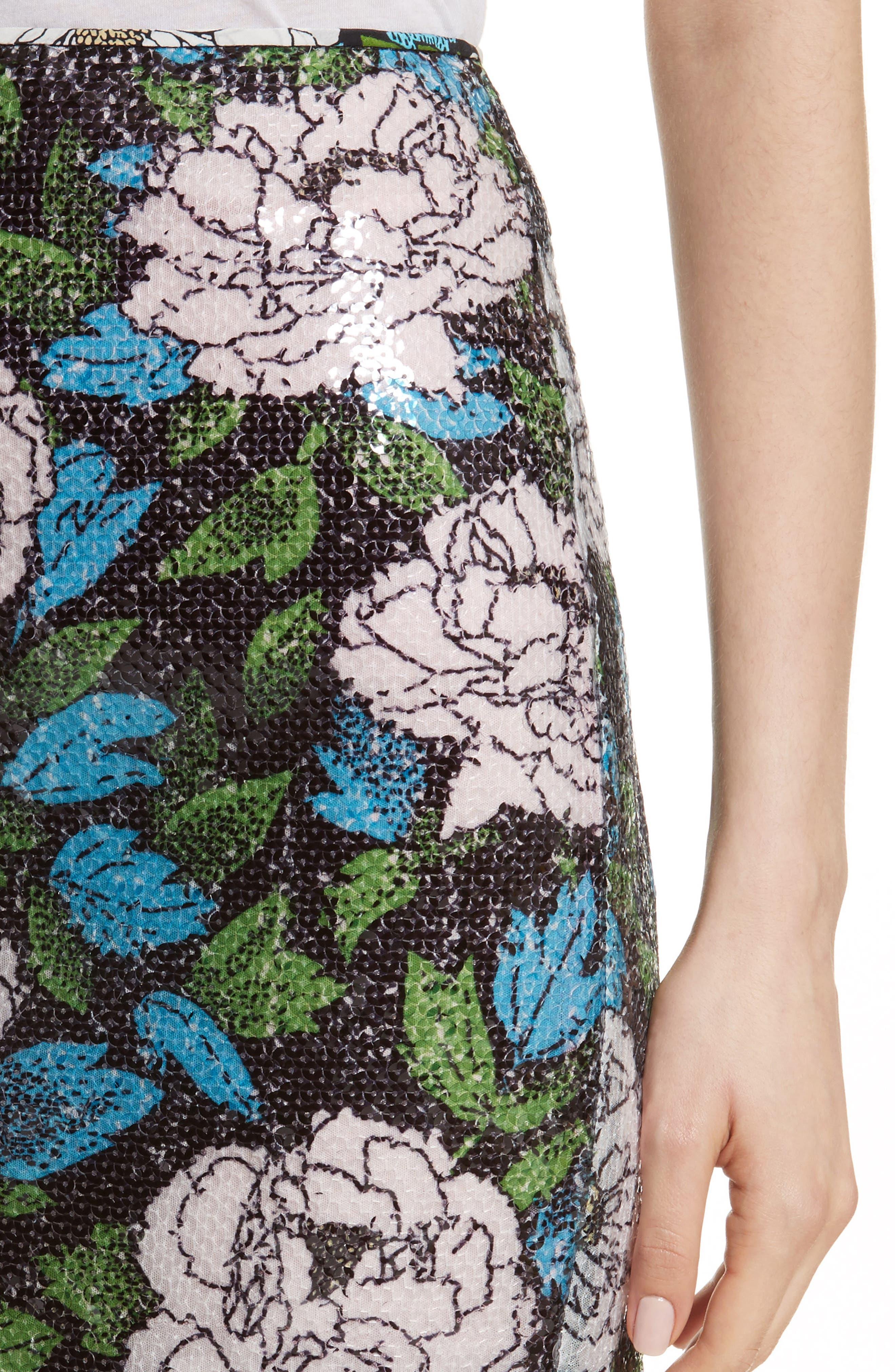 Diane von Furstenberg Sequin Pencil Skirt,                             Alternate thumbnail 4, color,                             Boswell Ivory