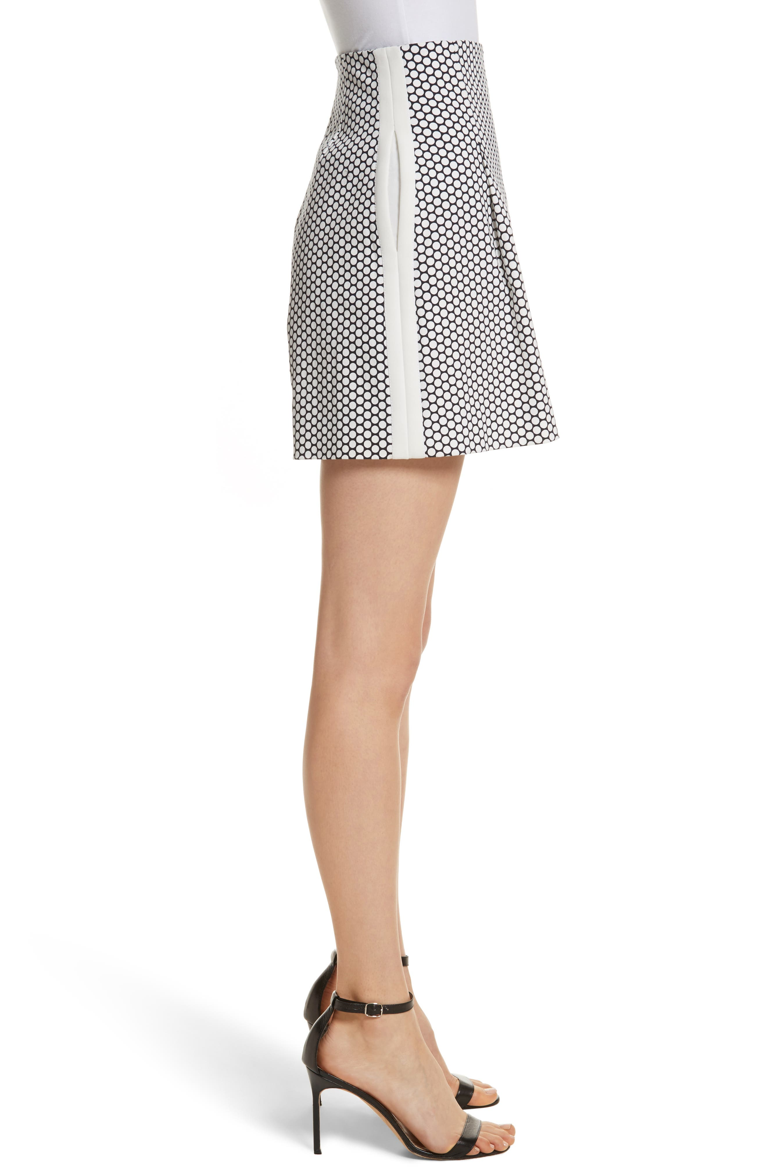 Diane von Furstenberg Dot High Waist Stretch Cotton Shorts,                             Alternate thumbnail 3, color,                             Rowe Dot Ivory
