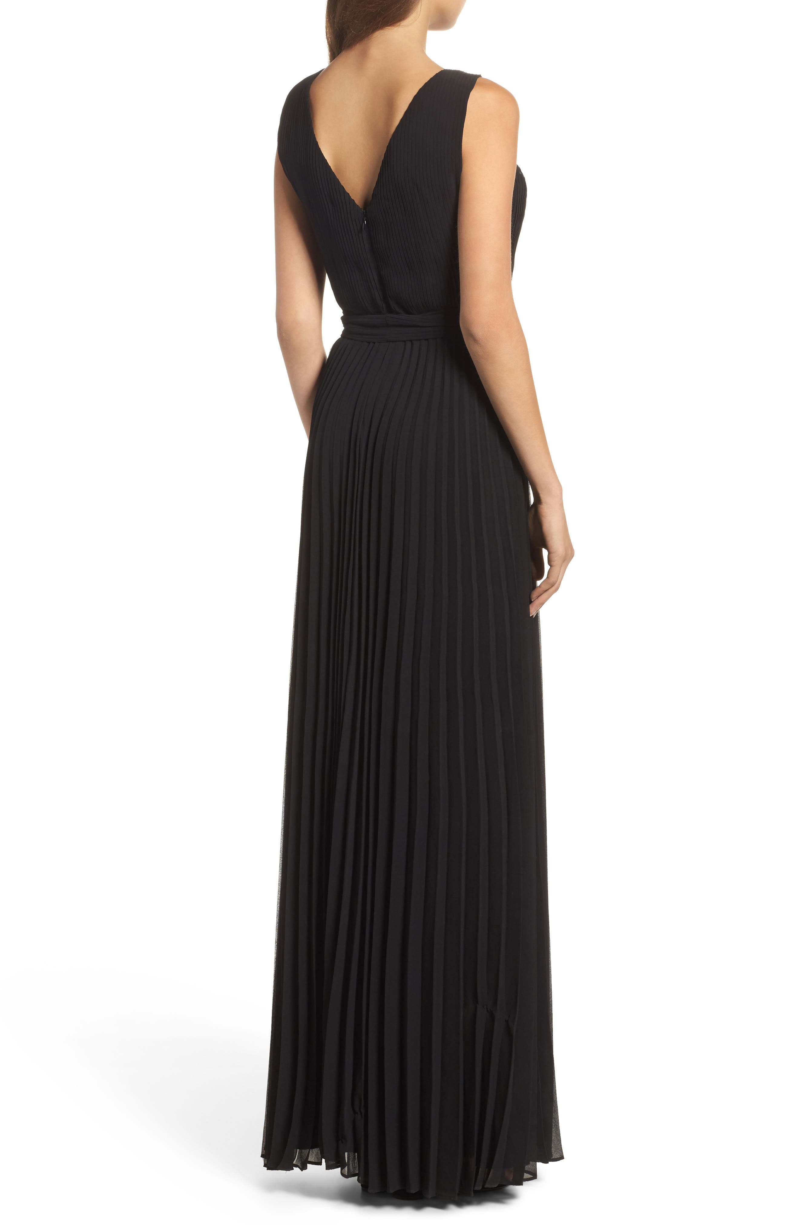 Gardenia Pleat Gown,                             Alternate thumbnail 2, color,                             Black