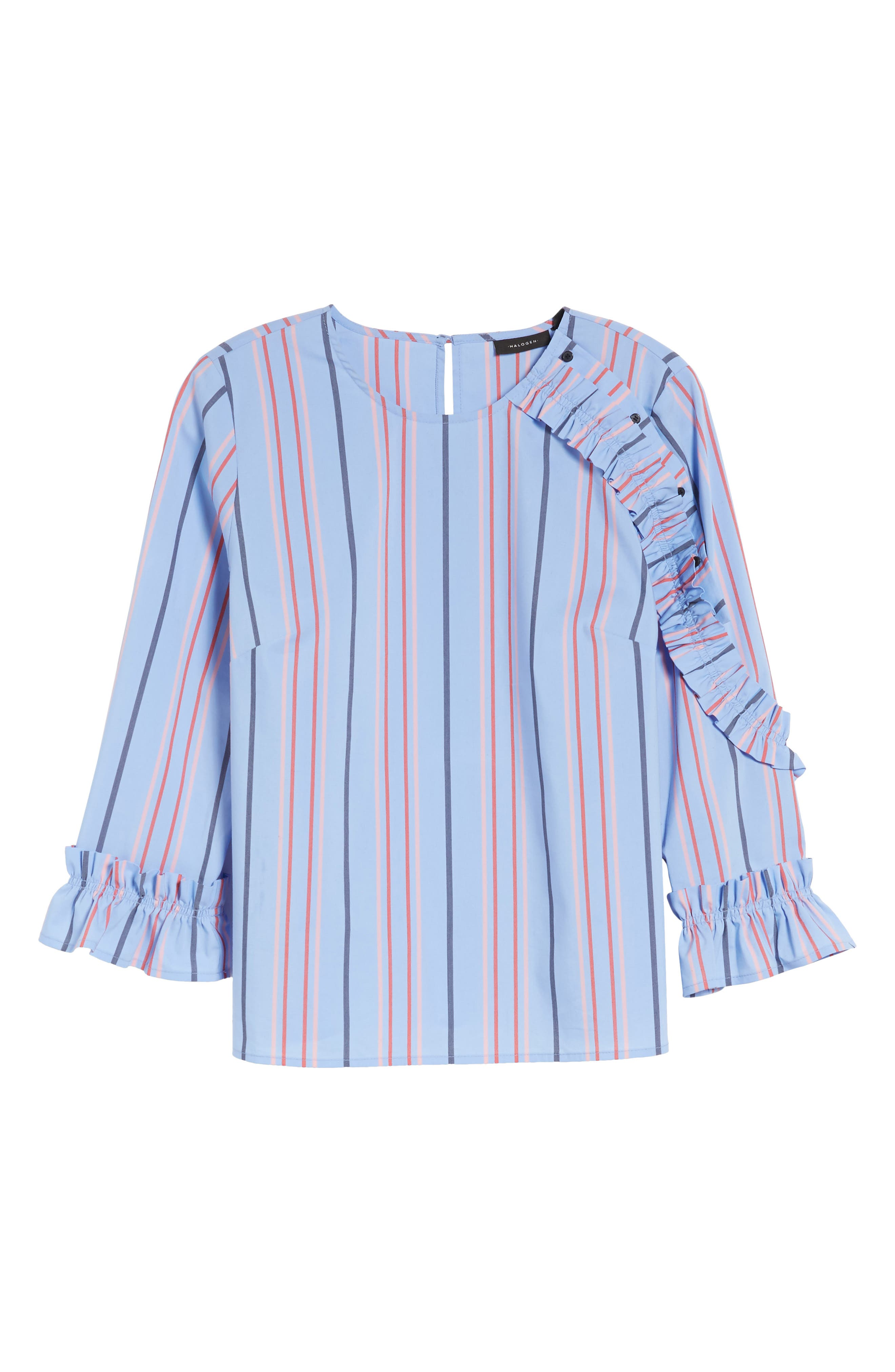 Ruffle Detail Poplin Shirt,                             Alternate thumbnail 6, color,                             Blue Multi Stripe