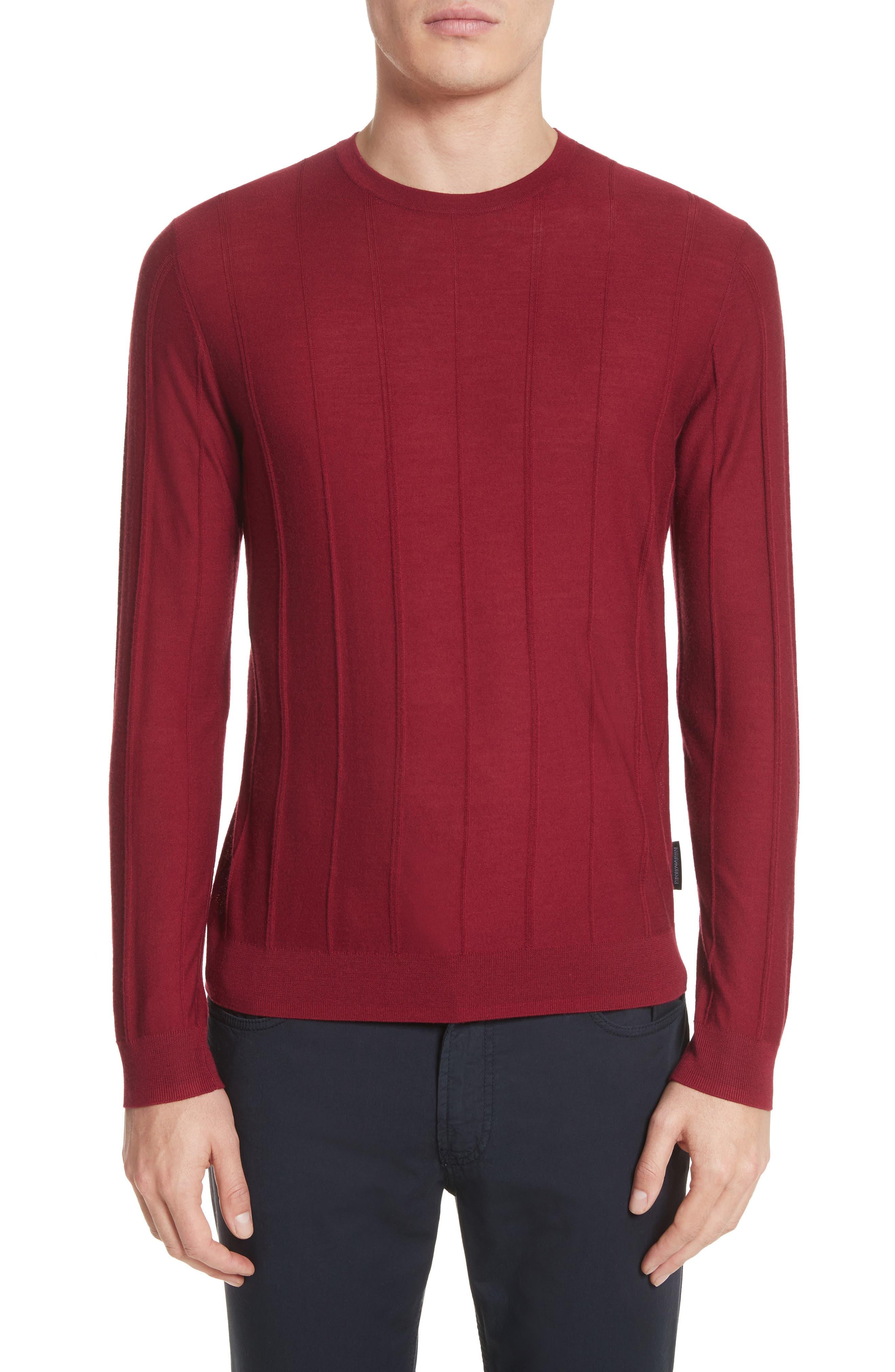 Slim Fit Wool Crewneck Sweater,                         Main,                         color, Borgogna