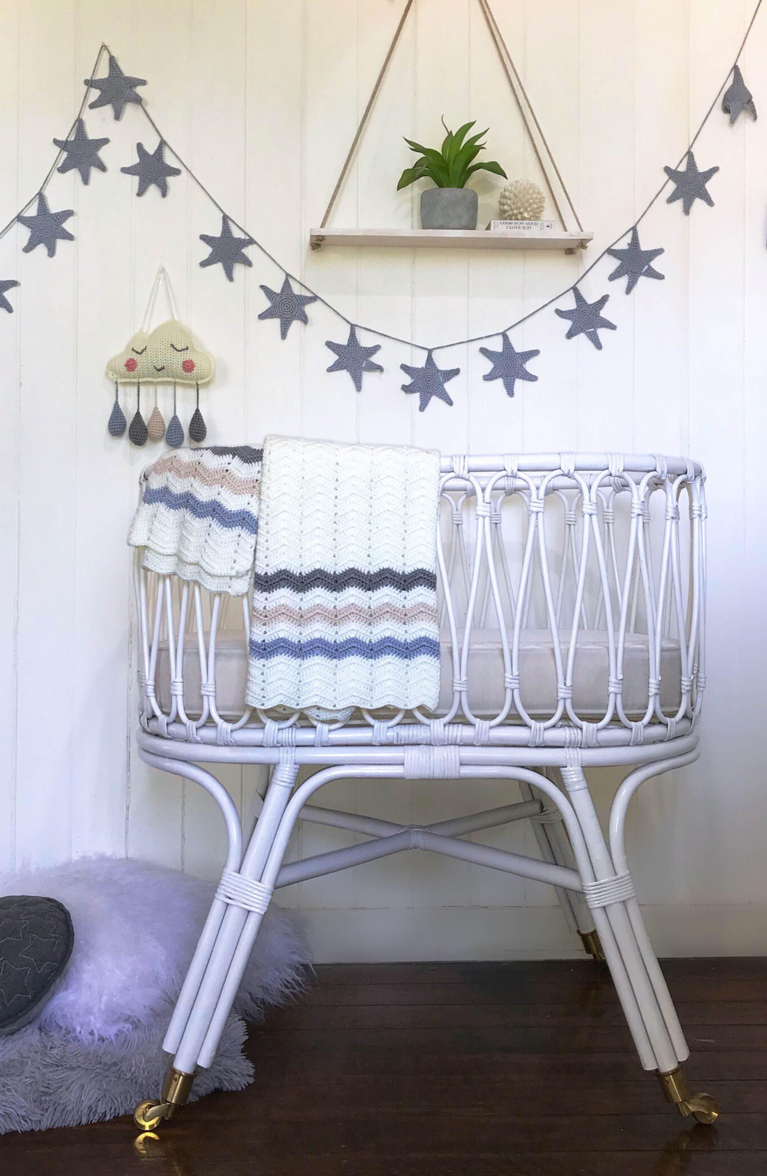 Ripple Crocheted Blanket,                             Alternate thumbnail 9, color,                             Blue