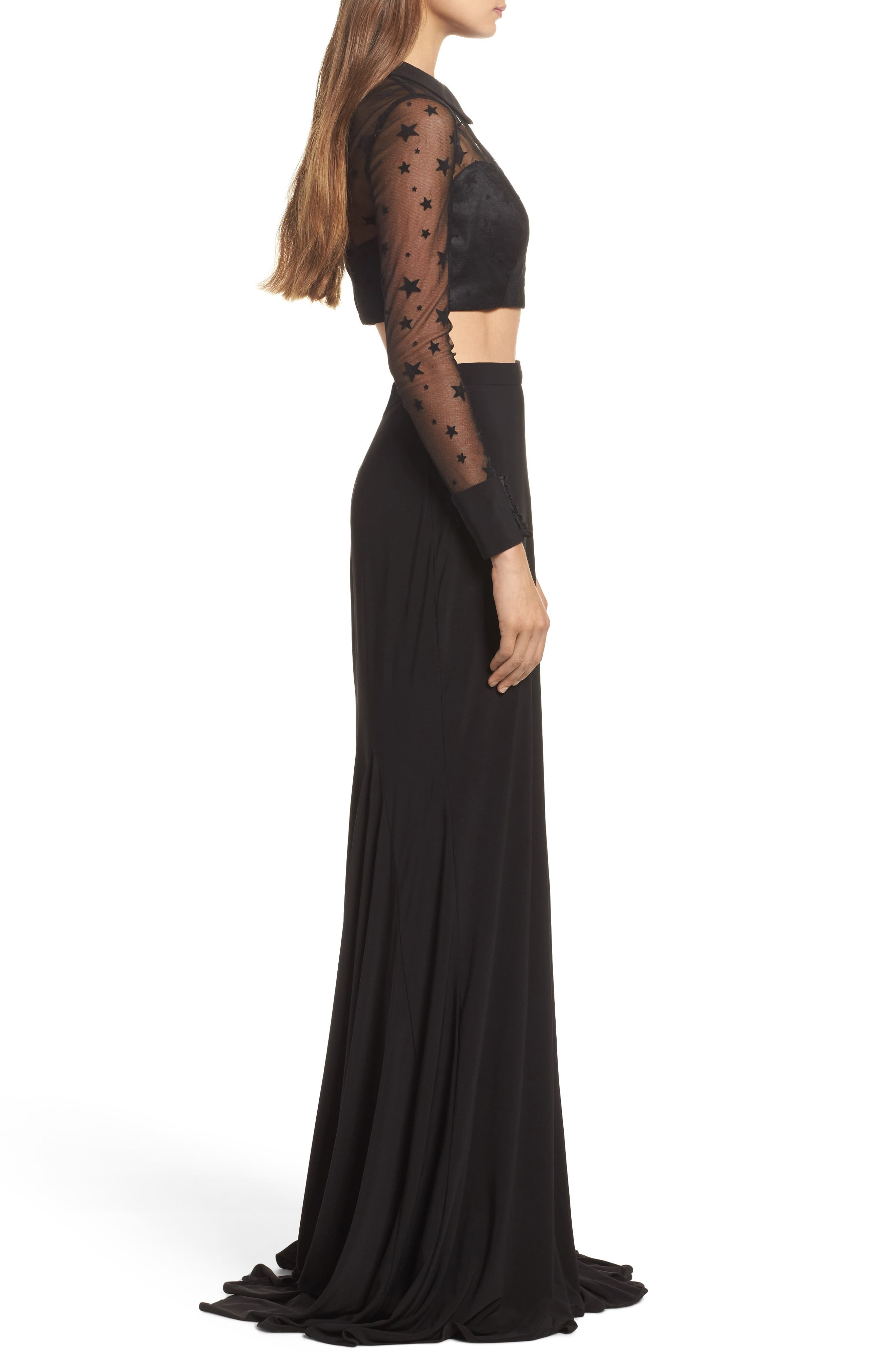 Star Mesh Two-Piece Gown,                             Alternate thumbnail 3, color,                             Black