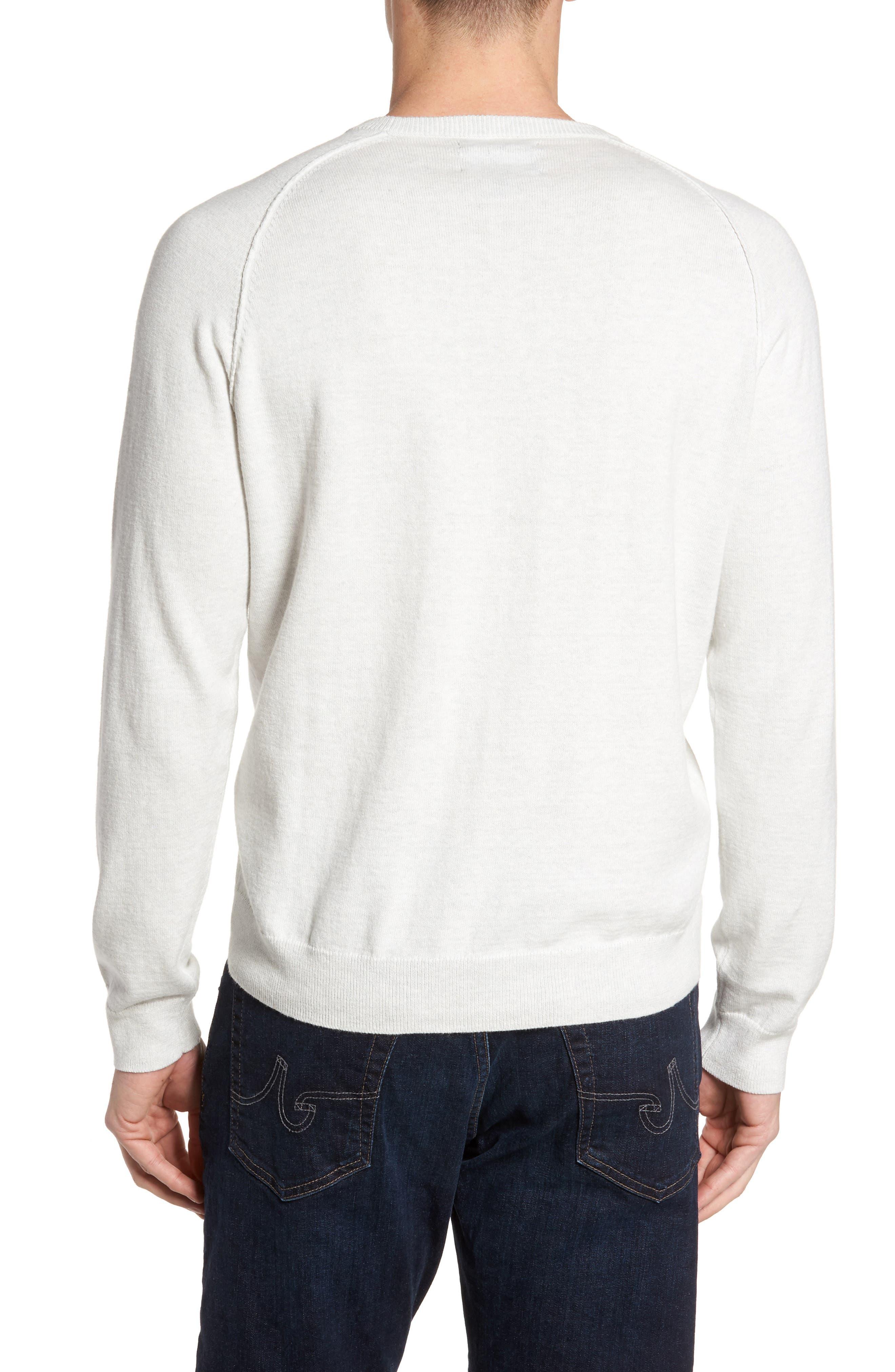 Saddle Shoulder Cotton & Cashmere Sweater,                             Alternate thumbnail 2, color,                             White Marl